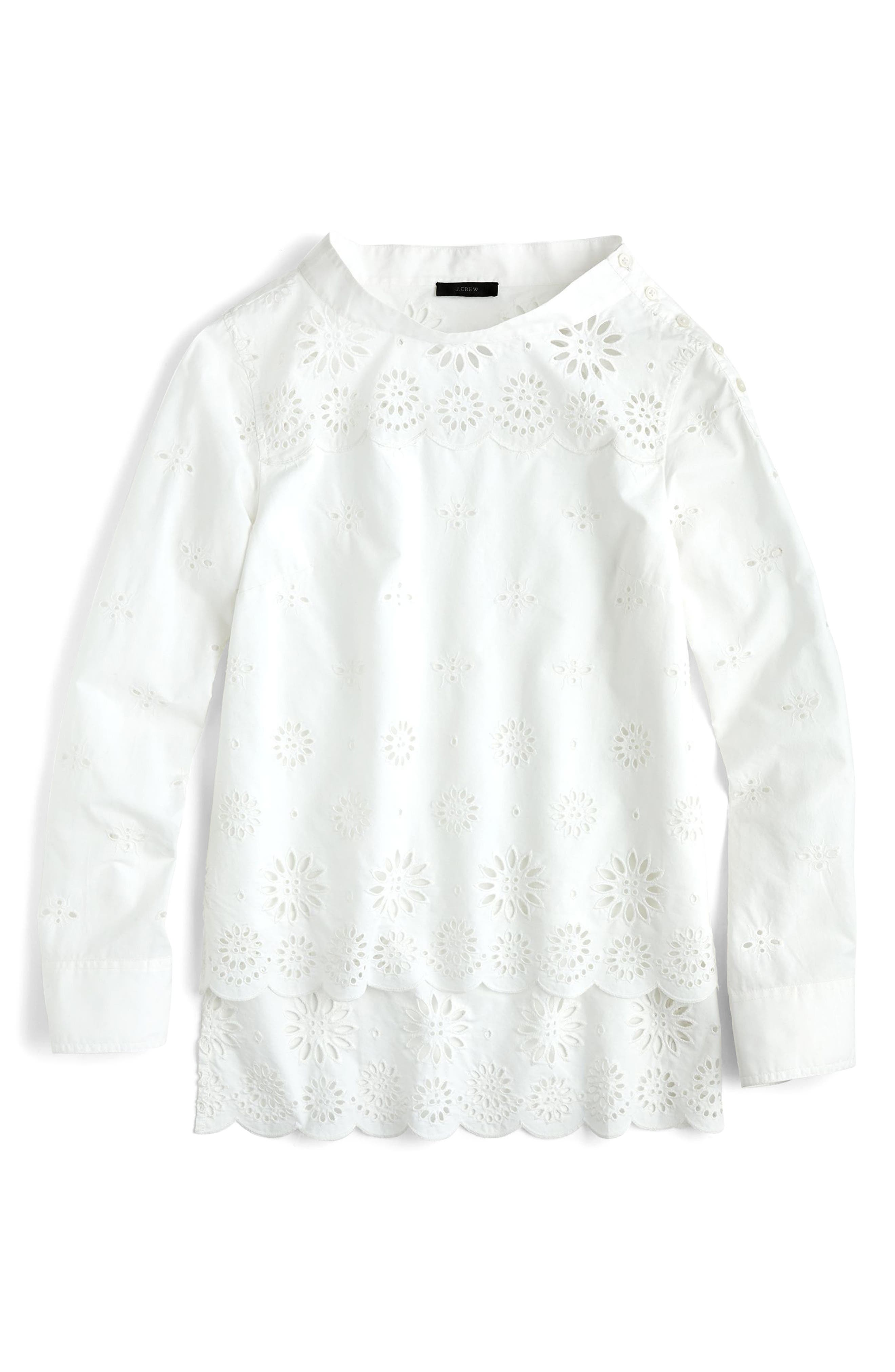 J.Crew Rooster Eyelet Cotton Top,                             Main thumbnail 1, color,                             White