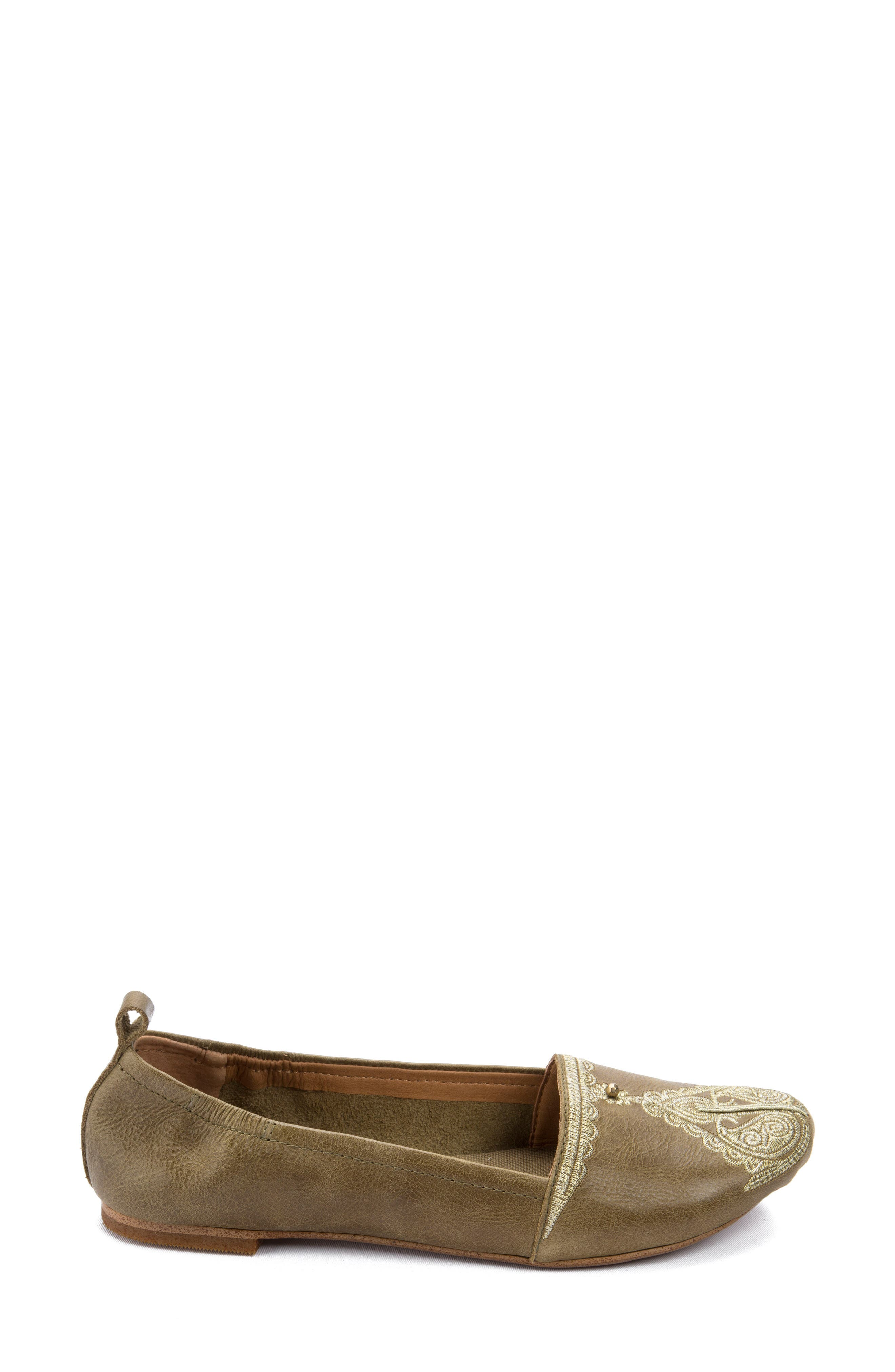 Bonzai Embroidered Flat,                             Alternate thumbnail 3, color,                             Olive Leather