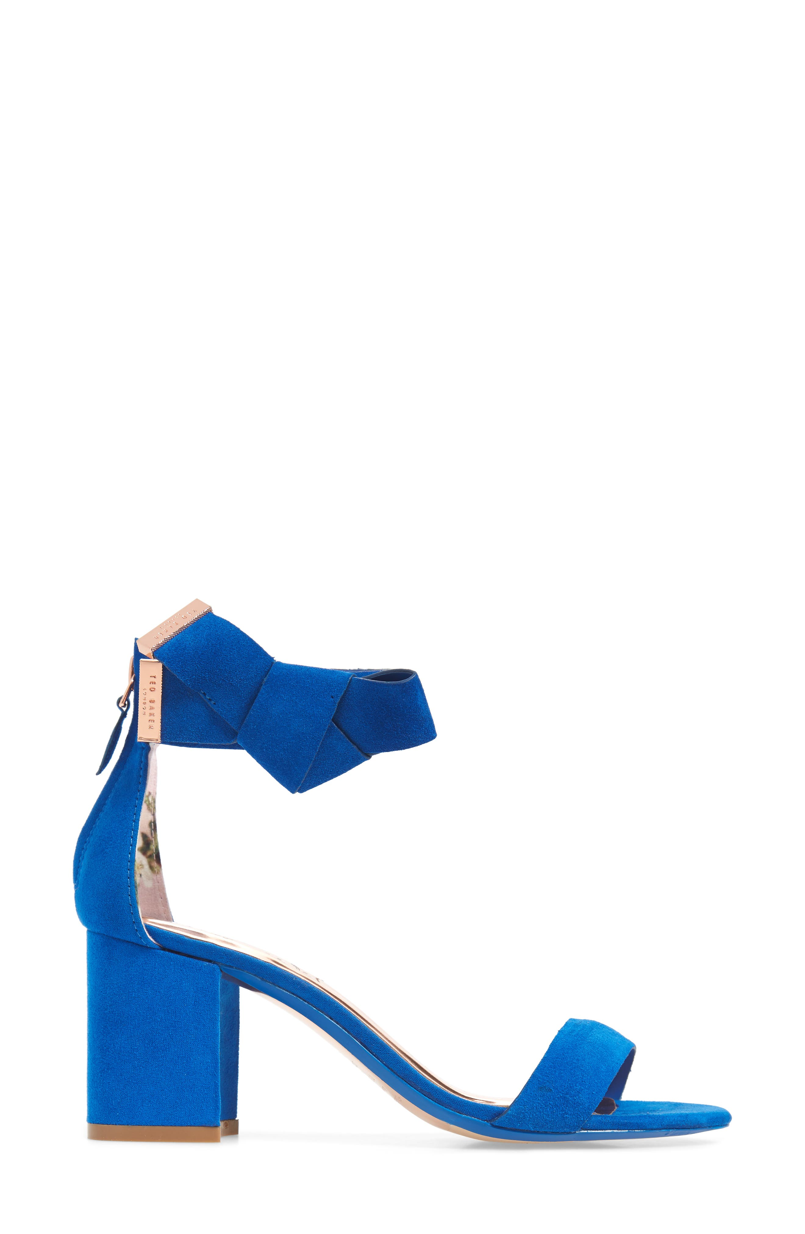 Kerrias Block Heel Sandal,                             Alternate thumbnail 3, color,                             Blue Suede
