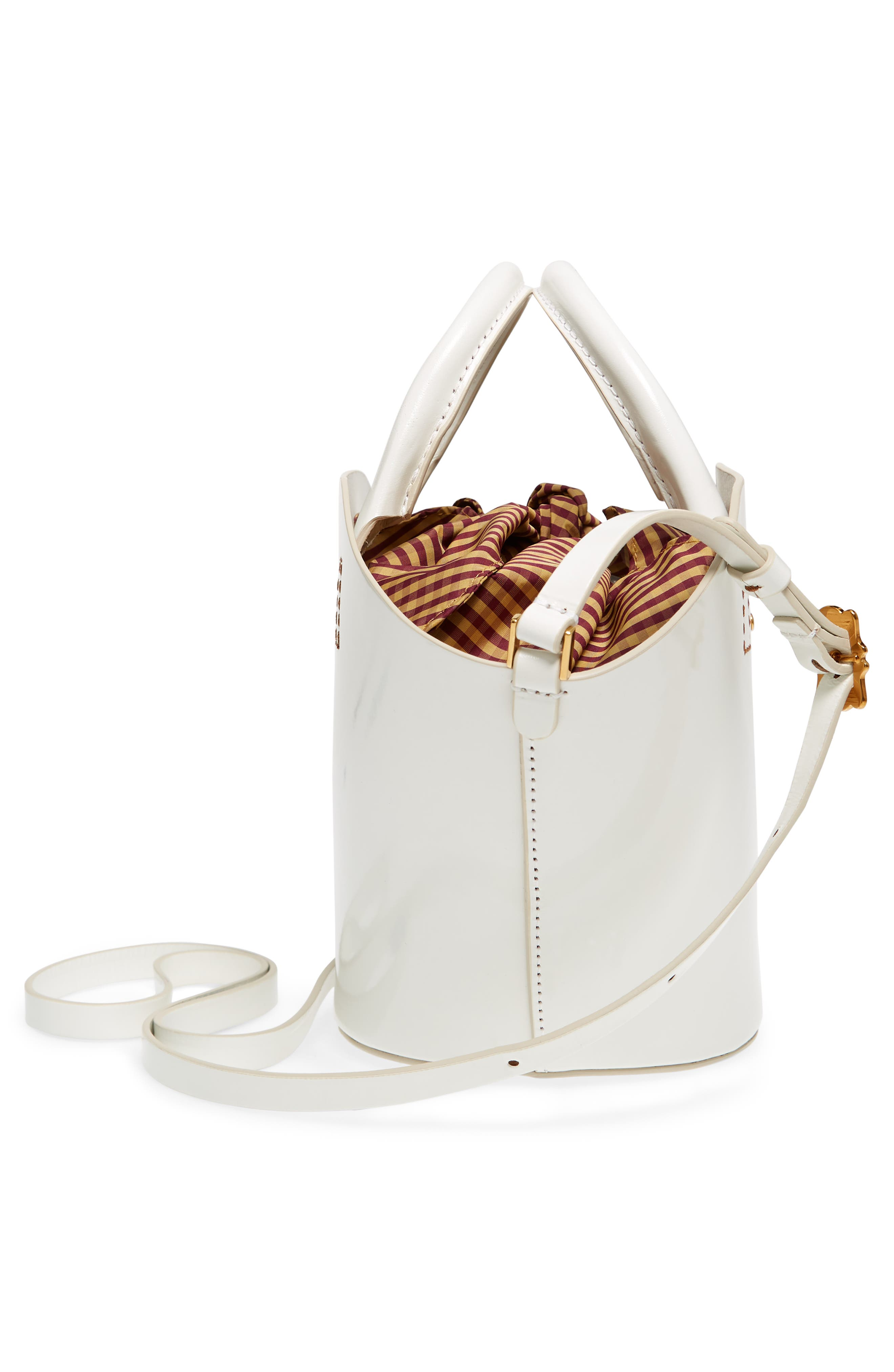 Small Leather Bucket Bag,                             Alternate thumbnail 4, color,                             White