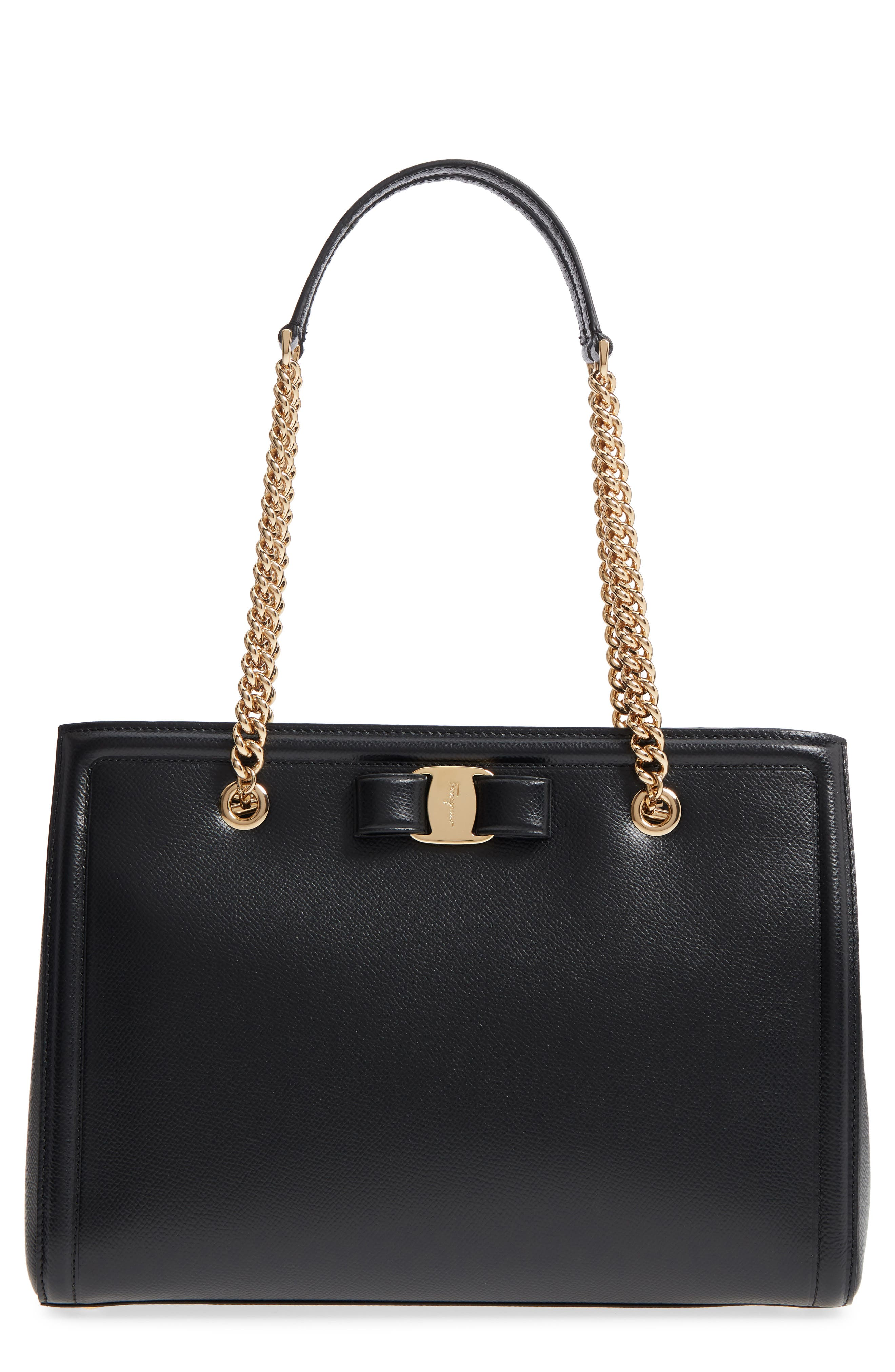 Melike Grained Leather Bow Tote,                             Main thumbnail 1, color,                             Nero