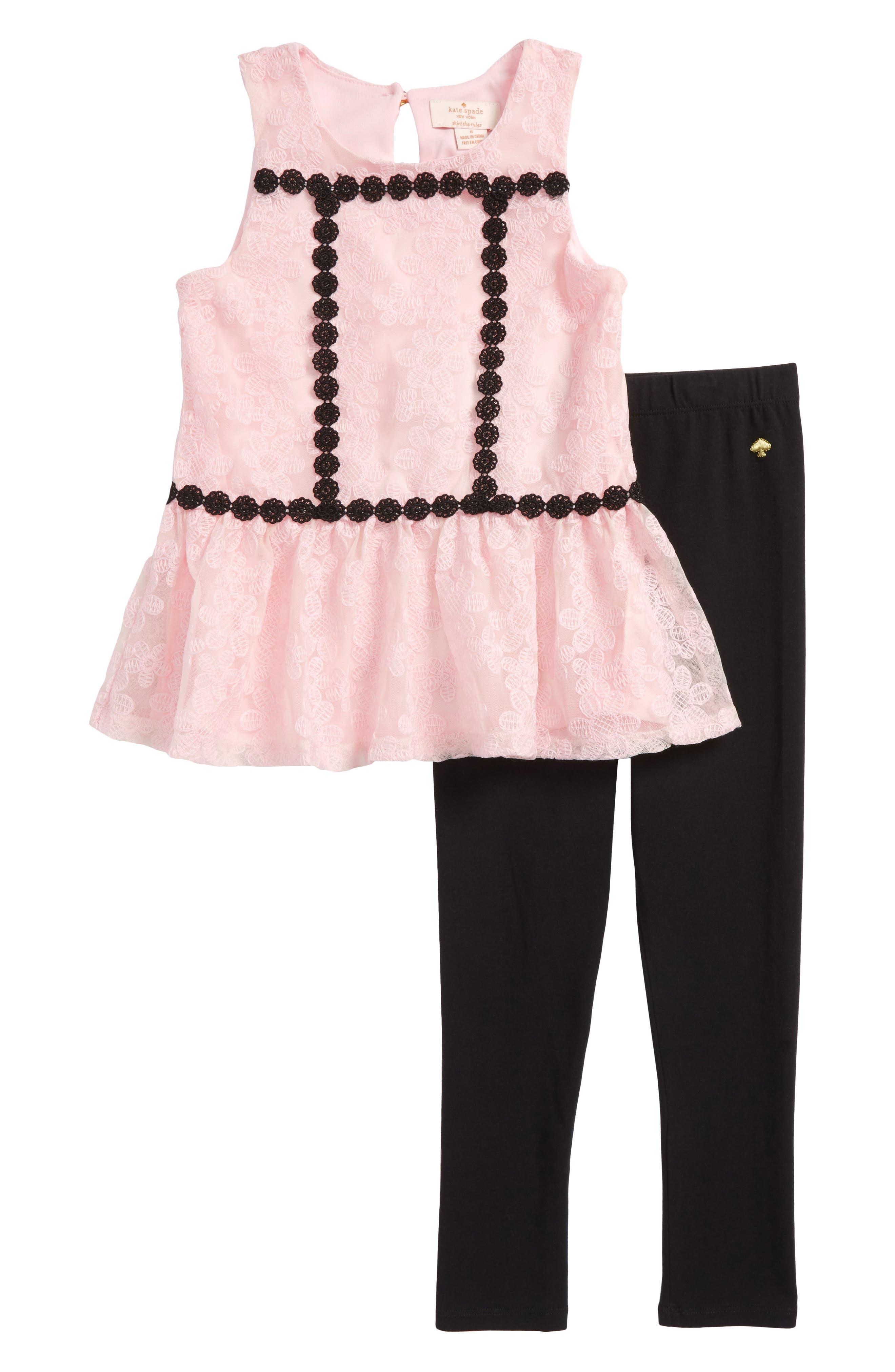 floral mesh tunic & leggings set,                         Main,                         color, Sonata Pink