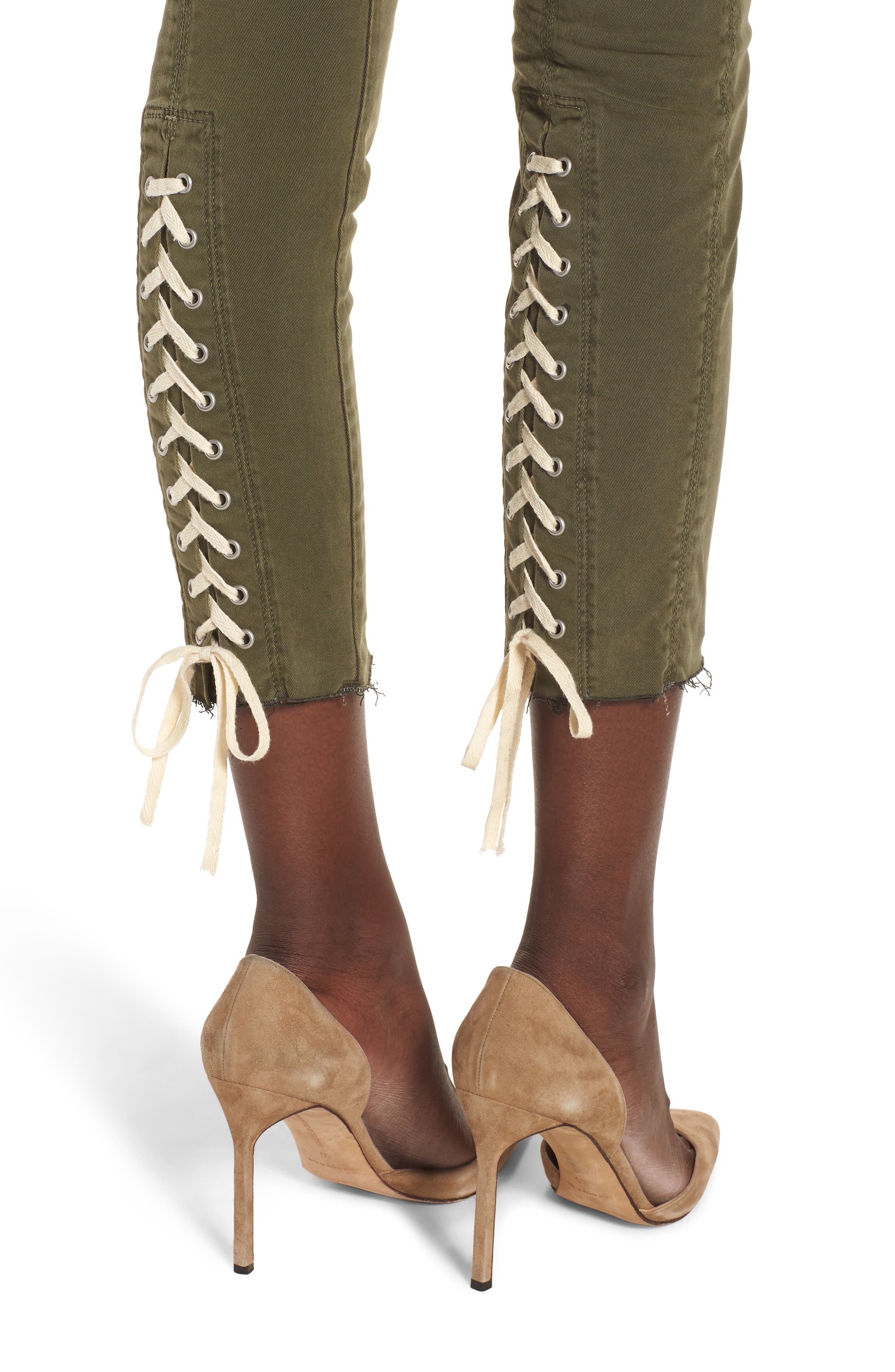 Nico Lace-Up Crop Super Skinny Jeans,                             Alternate thumbnail 4, color,                             Crushed Olive