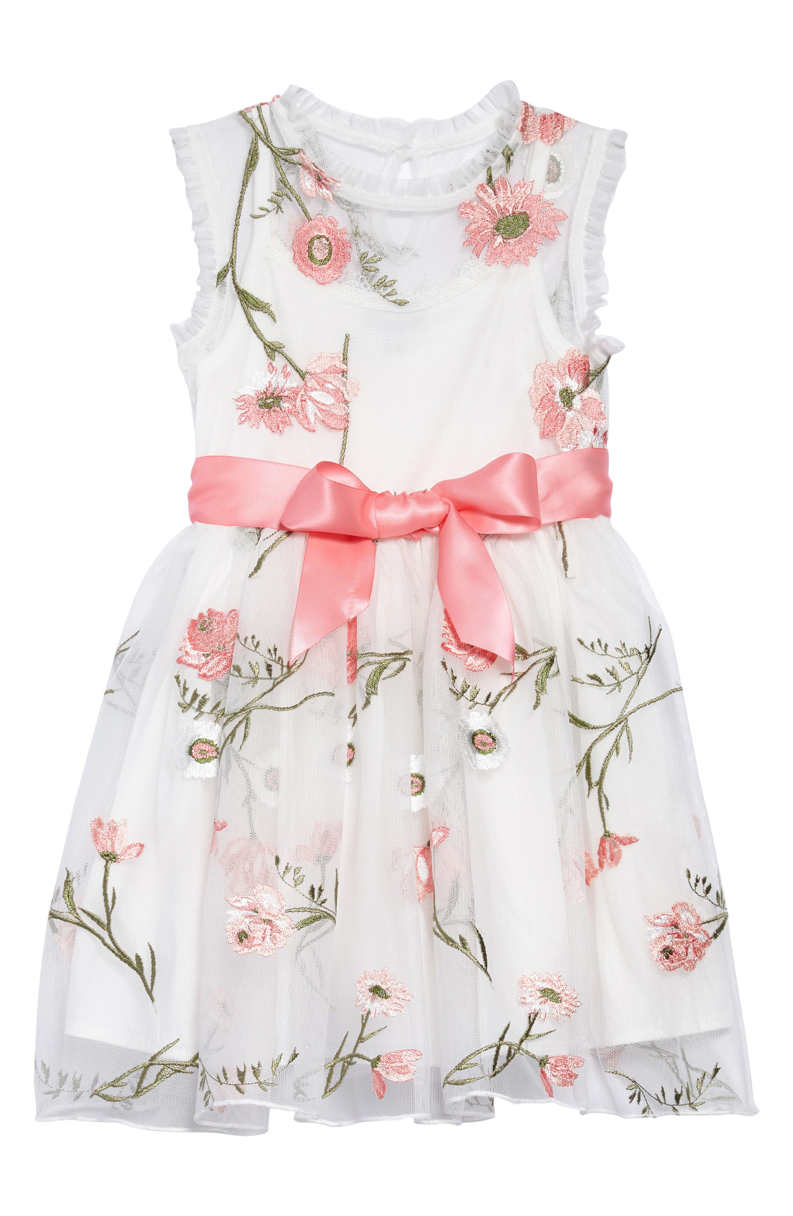 Embroidered Flower Dress,                         Main,                         color, White/ Coral