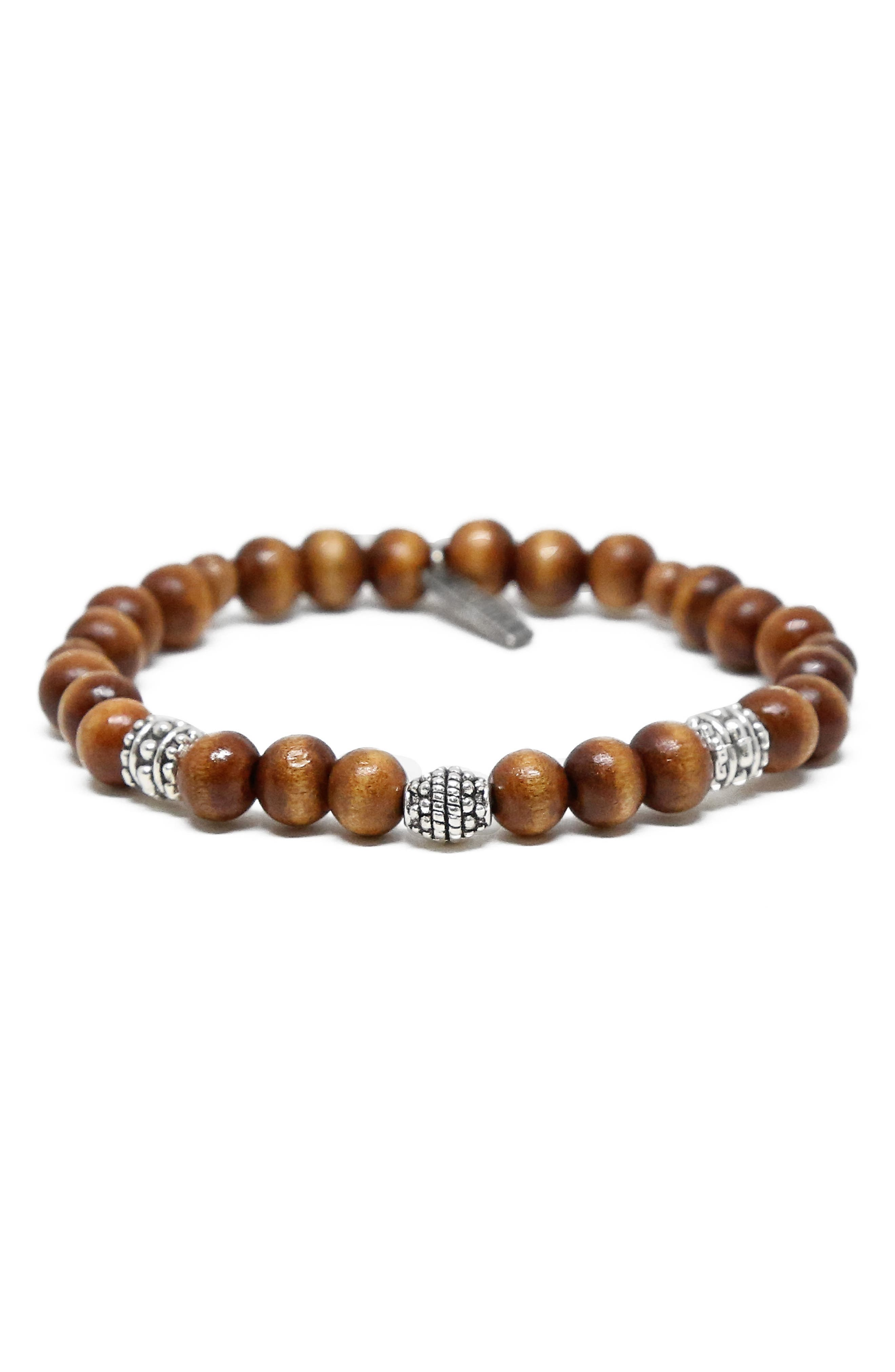 Wood & Brass Bead Bracelet,                             Main thumbnail 1, color,                             Wood/ Silver