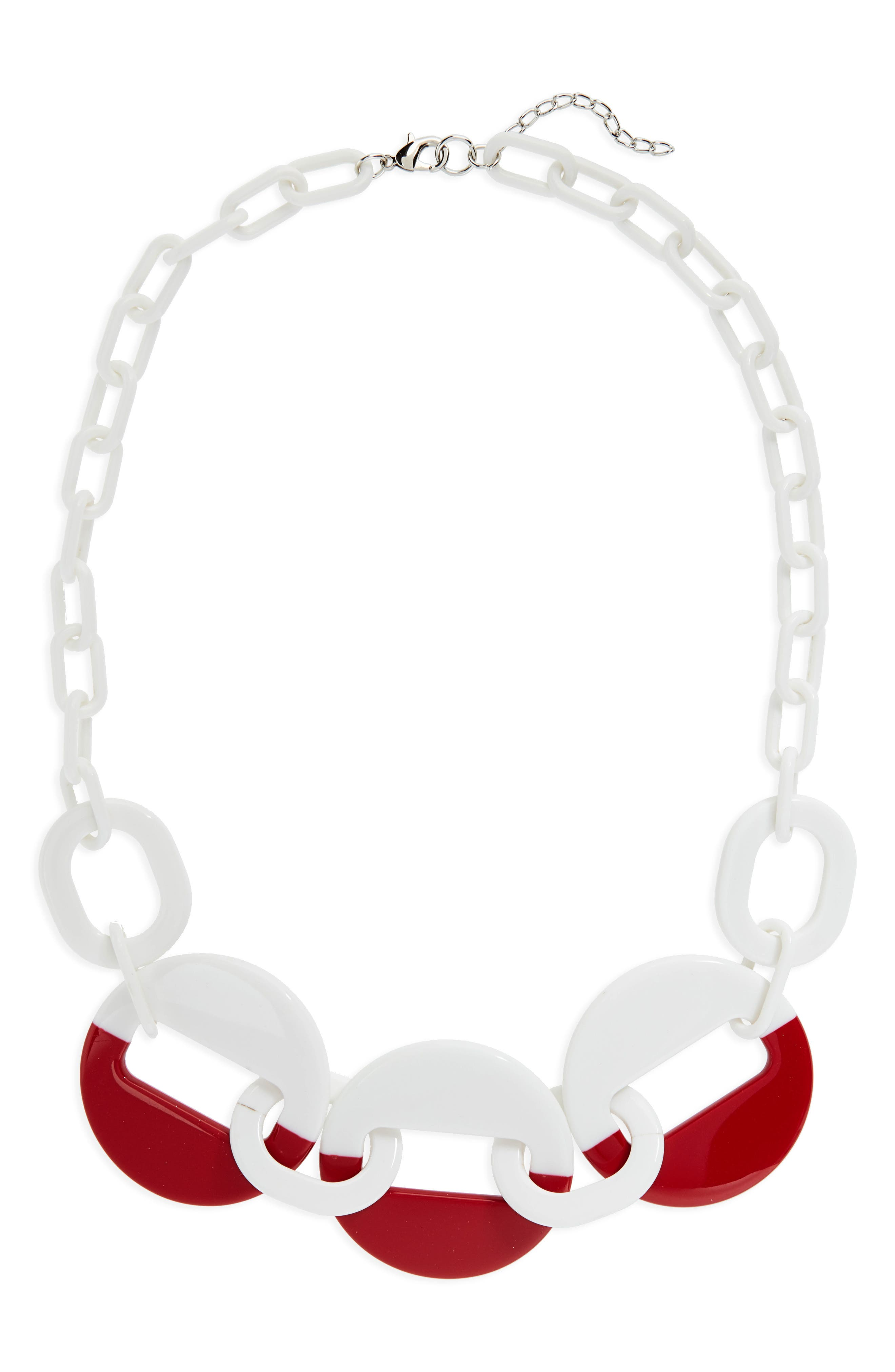 Resin Link Necklace,                         Main,                         color, White/ Red