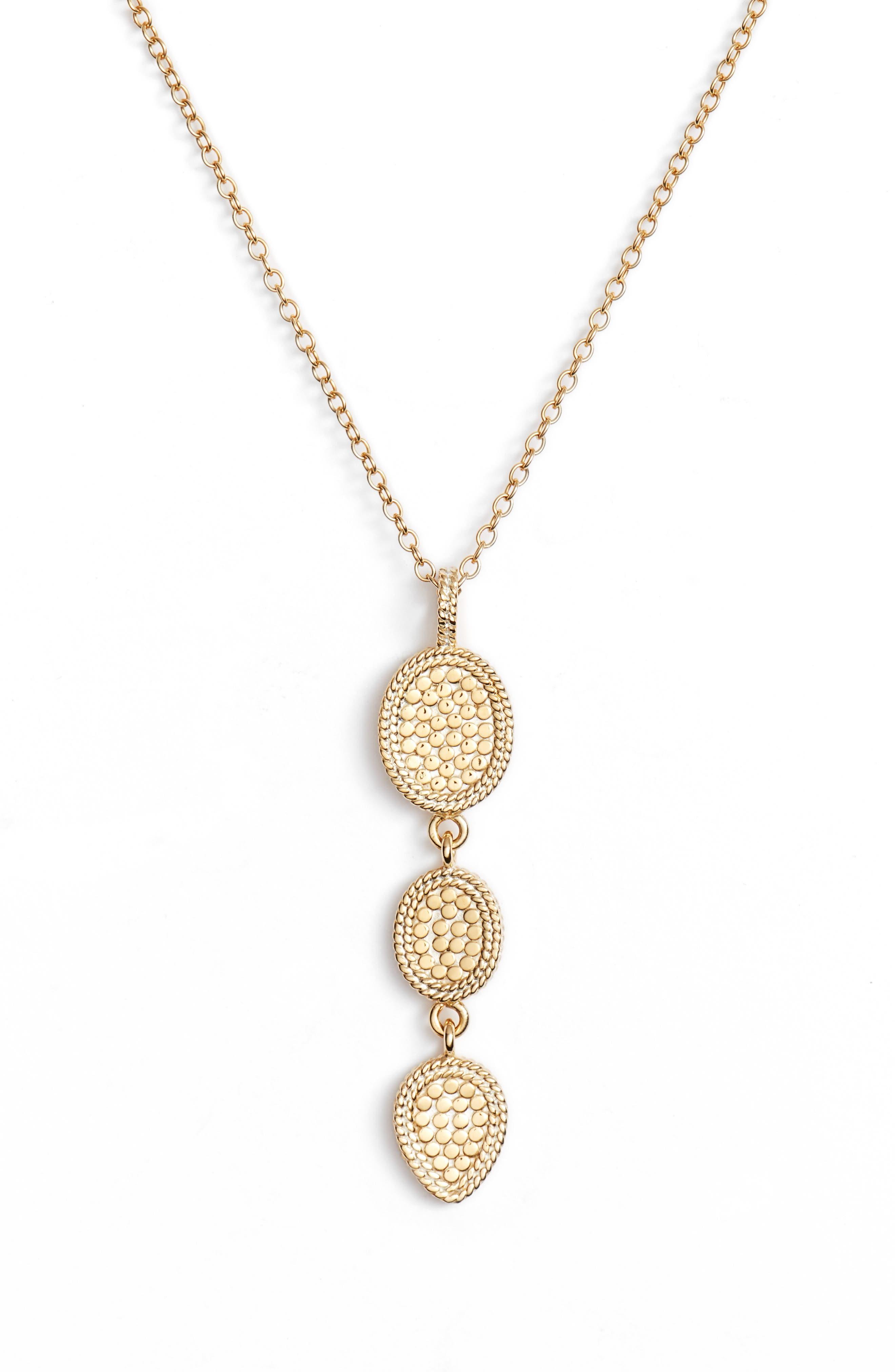 Gold Triple Drop Pendant Necklace,                         Main,                         color, Gold