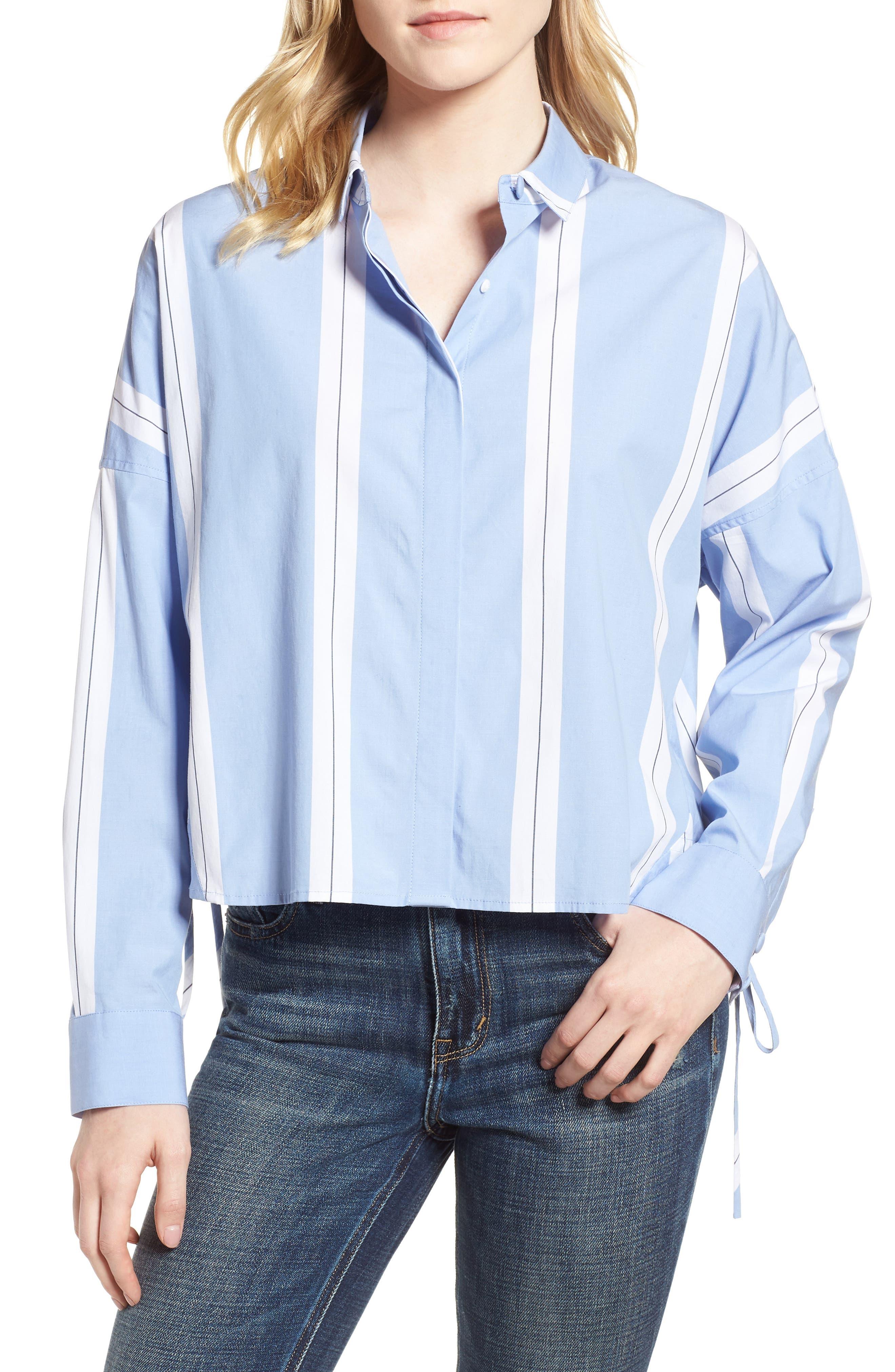 Adele Blouson Top,                         Main,                         color, Bright White/ Cornflower Blue