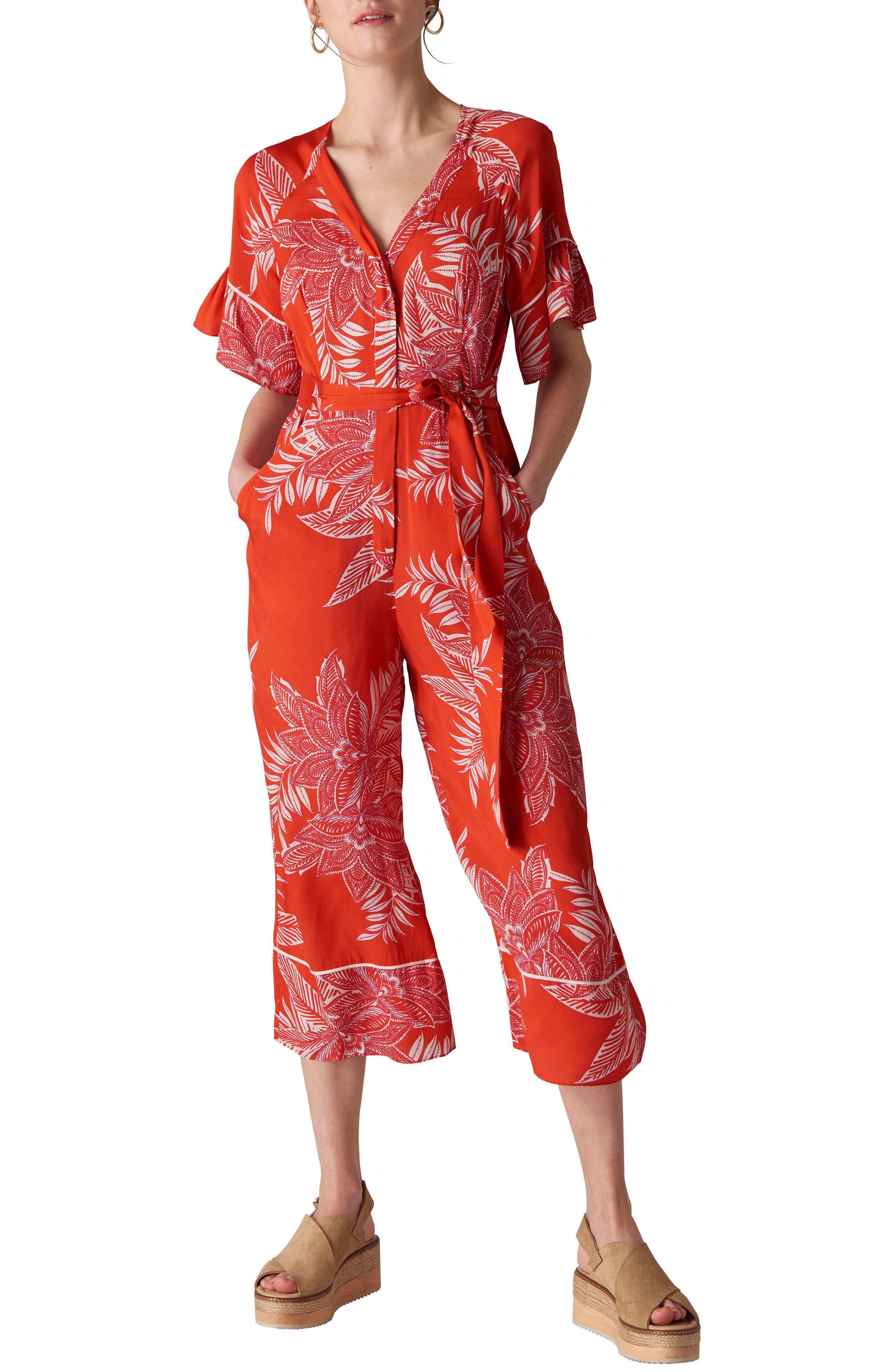 Kamma Palmyra Print Jumpsuit,                             Main thumbnail 1, color,                             Red/ Multi