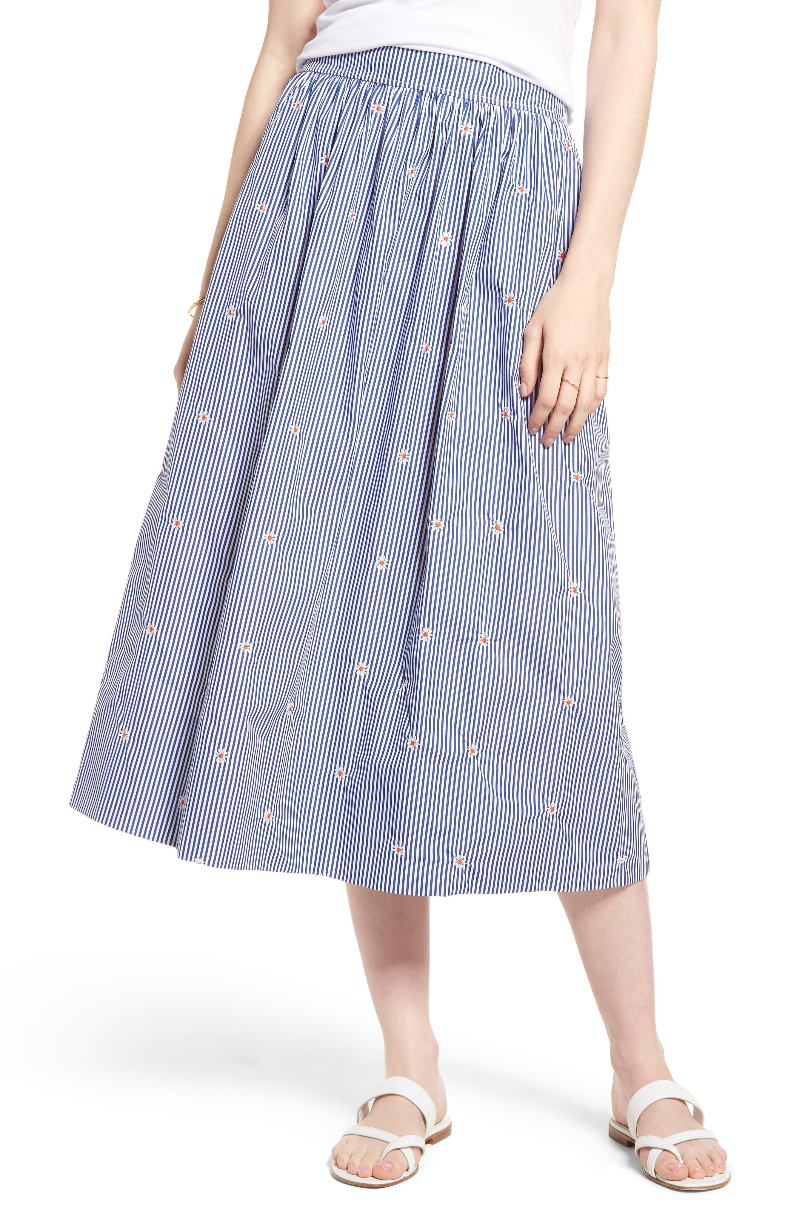 1901 Smocked Waist Midi Skirt