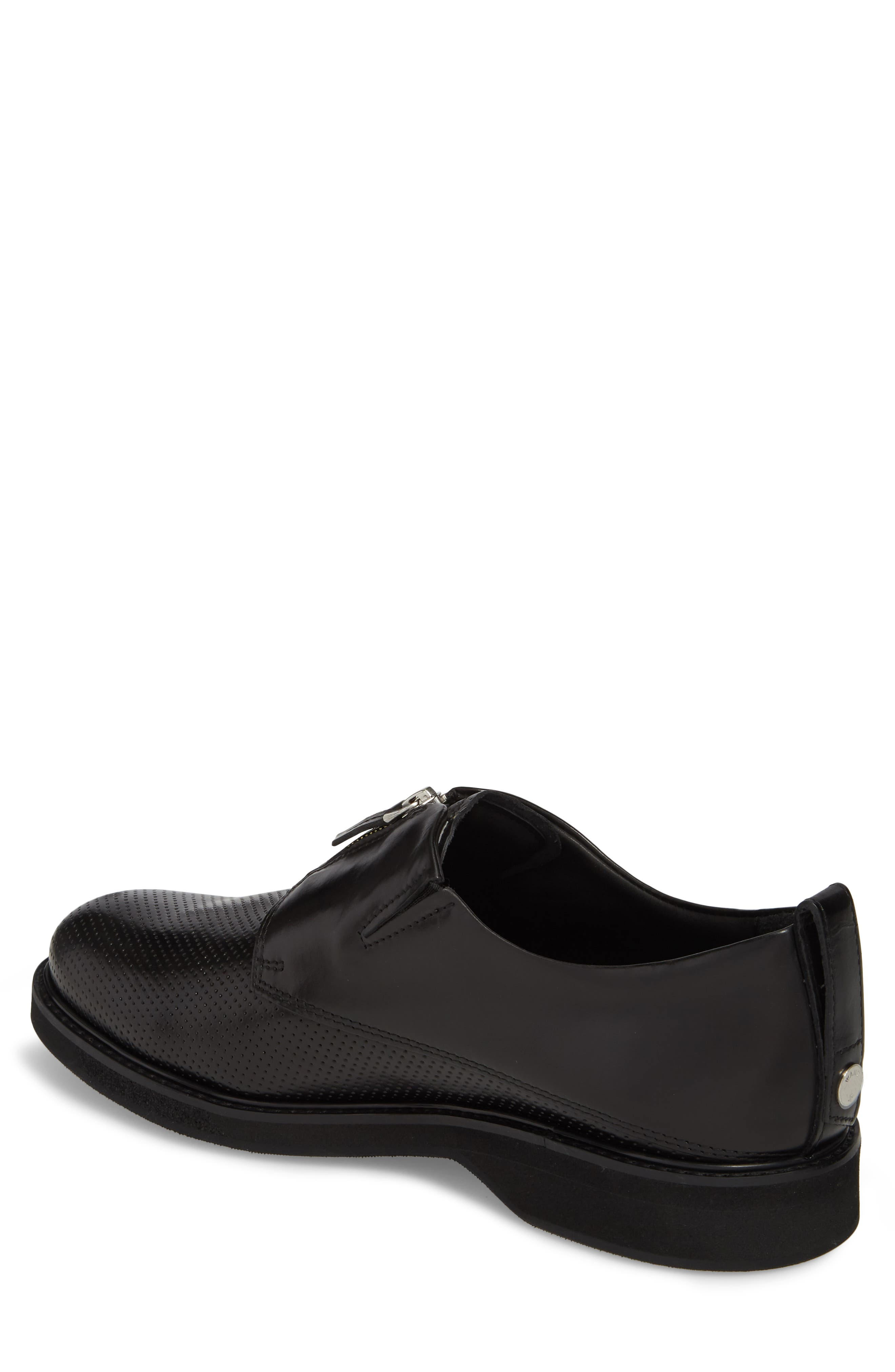 Zipped Derby Shoe,                             Alternate thumbnail 2, color,                             Multi Perforated Black/ Black