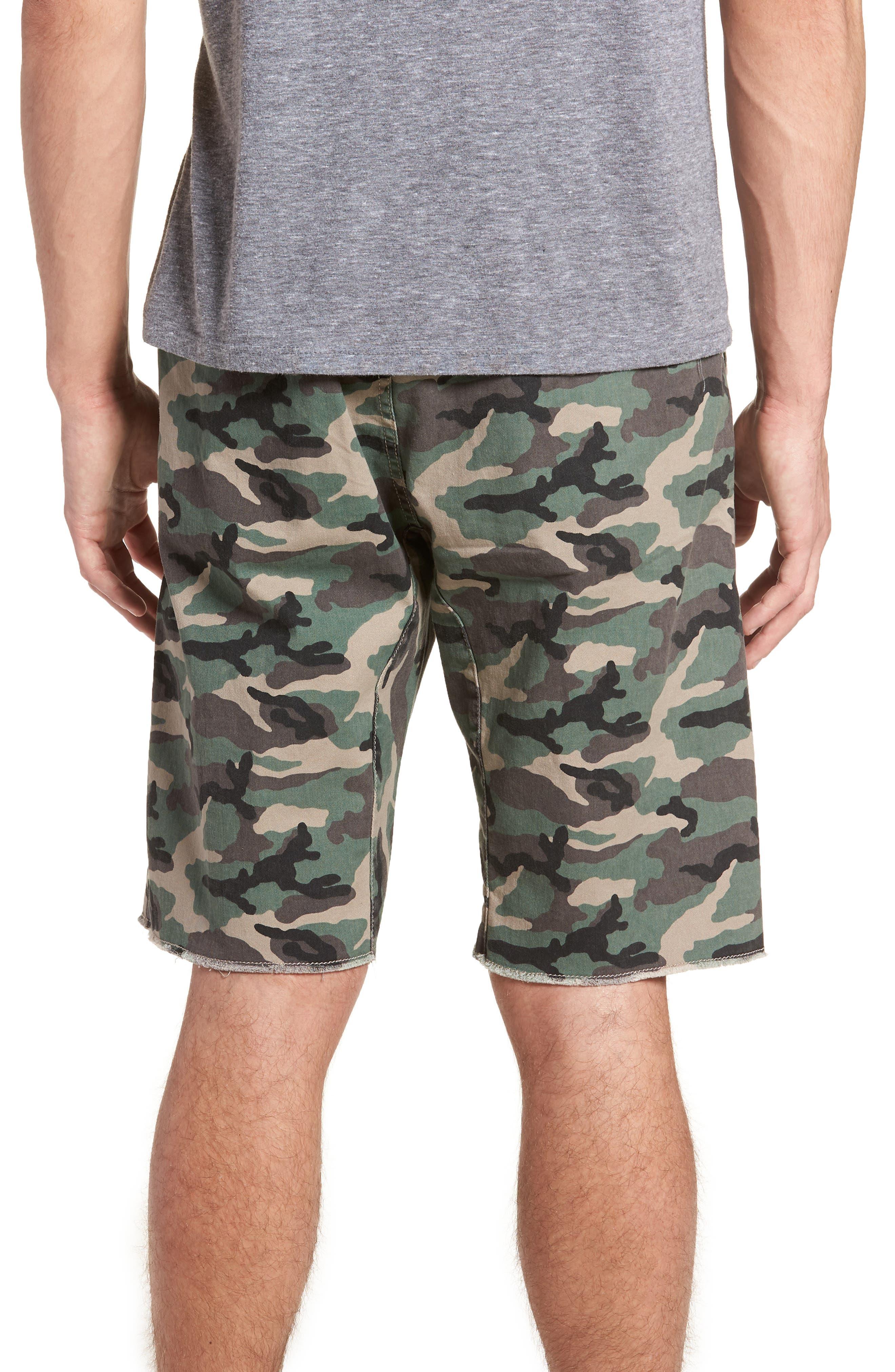 Camo Print Cutoff Twill Shorts,                             Alternate thumbnail 2, color,                             Brown Green Camo