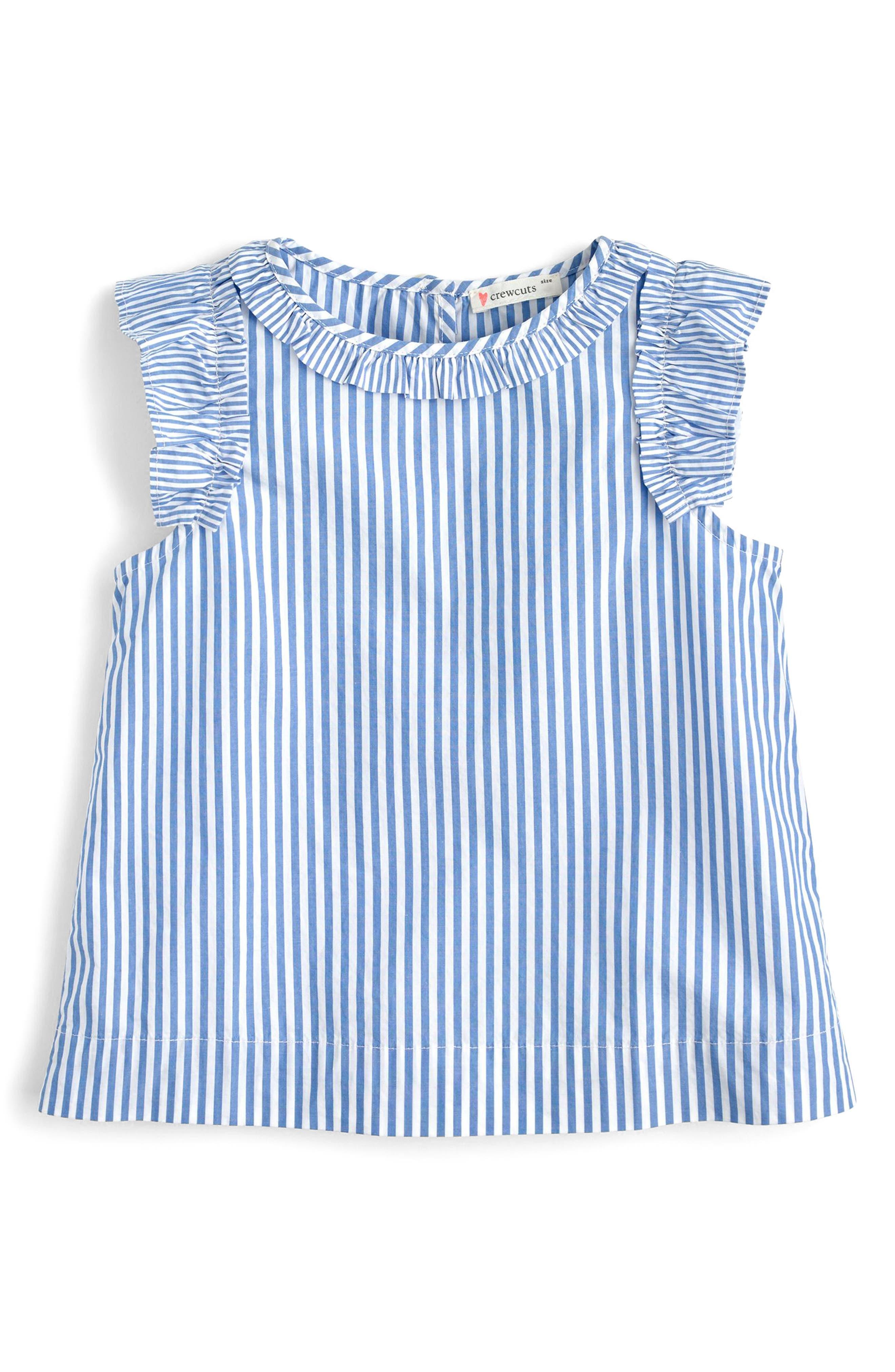 Sarah Ruffle Sleeve Striped Top,                             Main thumbnail 1, color,                             Blue White