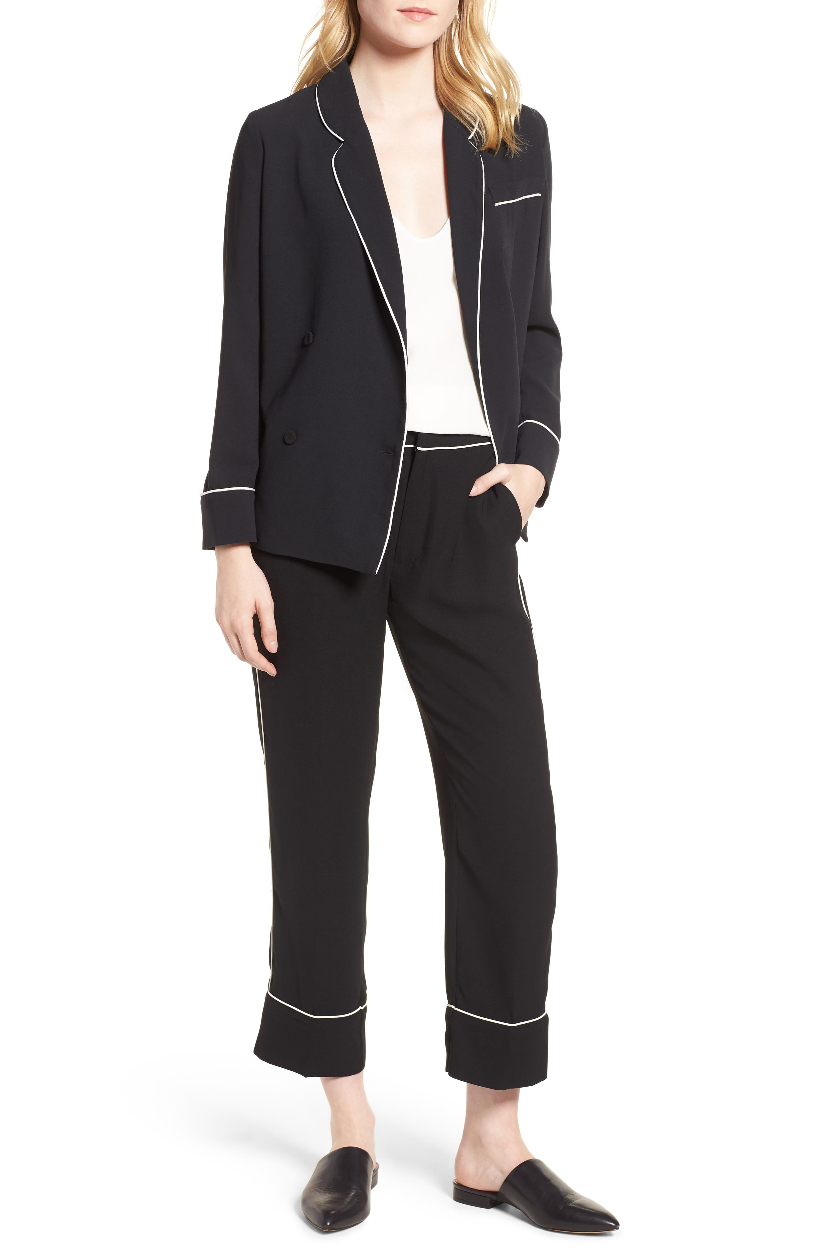 Ankle Pants,                             Alternate thumbnail 8, color,                             Black/ Bright White Piping