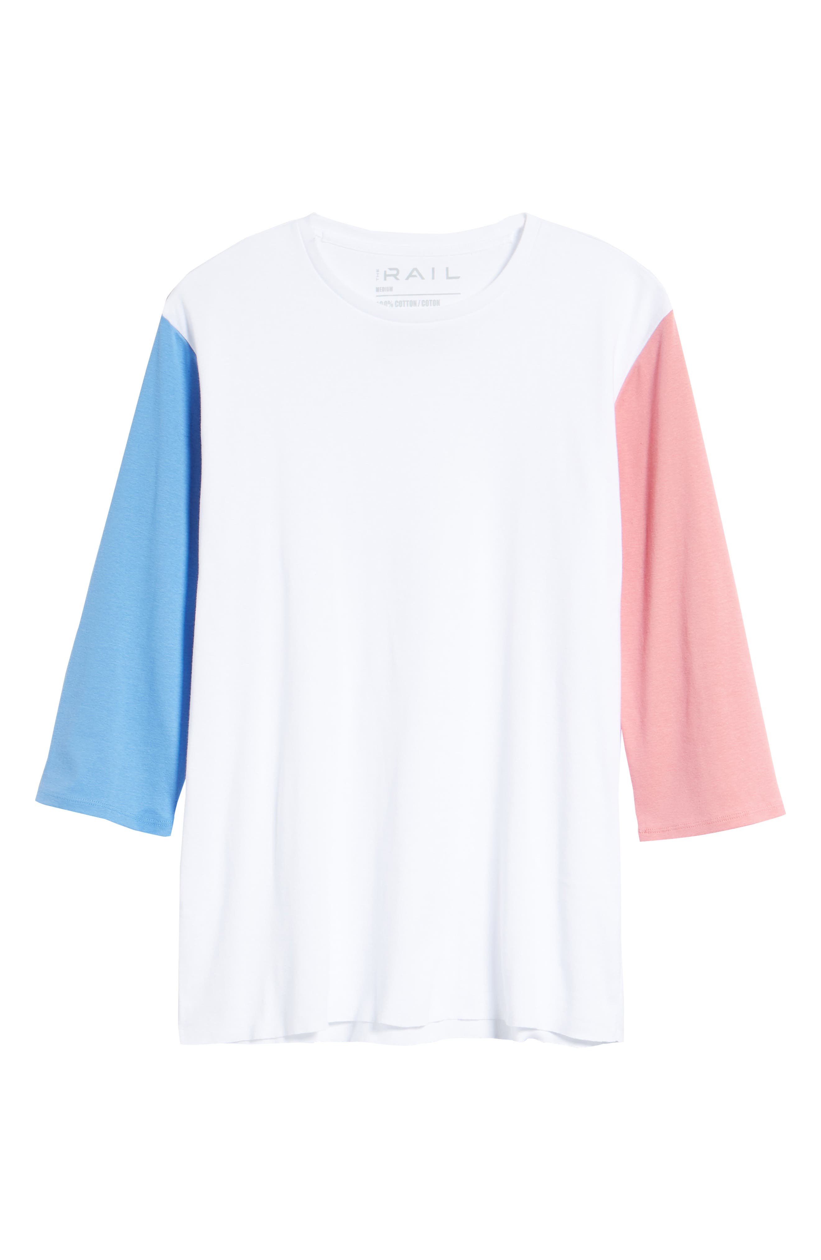 Contrast Sleeve T-Shirt,                             Alternate thumbnail 6, color,                             White/ Pink / Blue