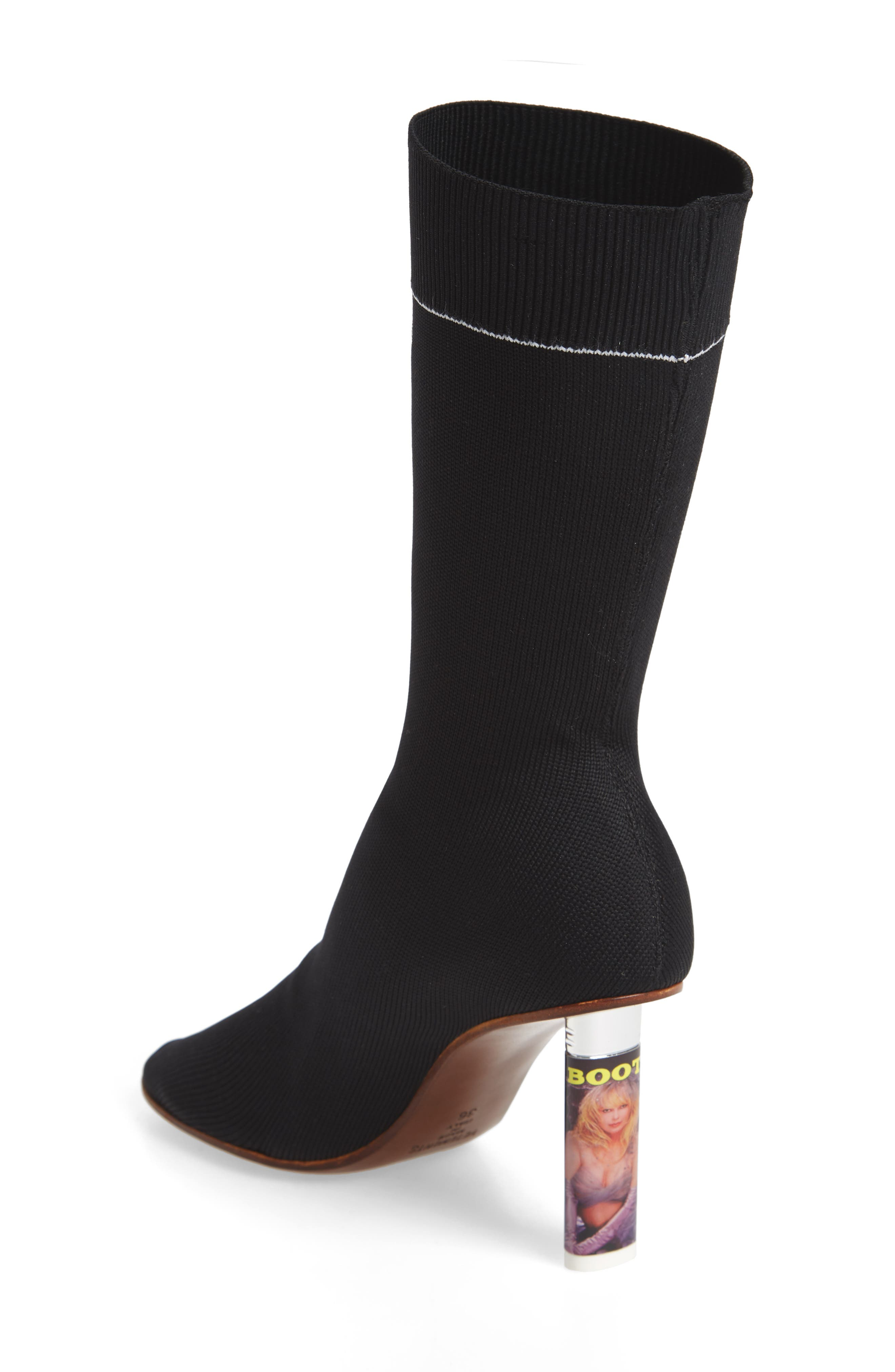Lighter Sock Boot,                             Alternate thumbnail 2, color,                             Black/Printed Heel