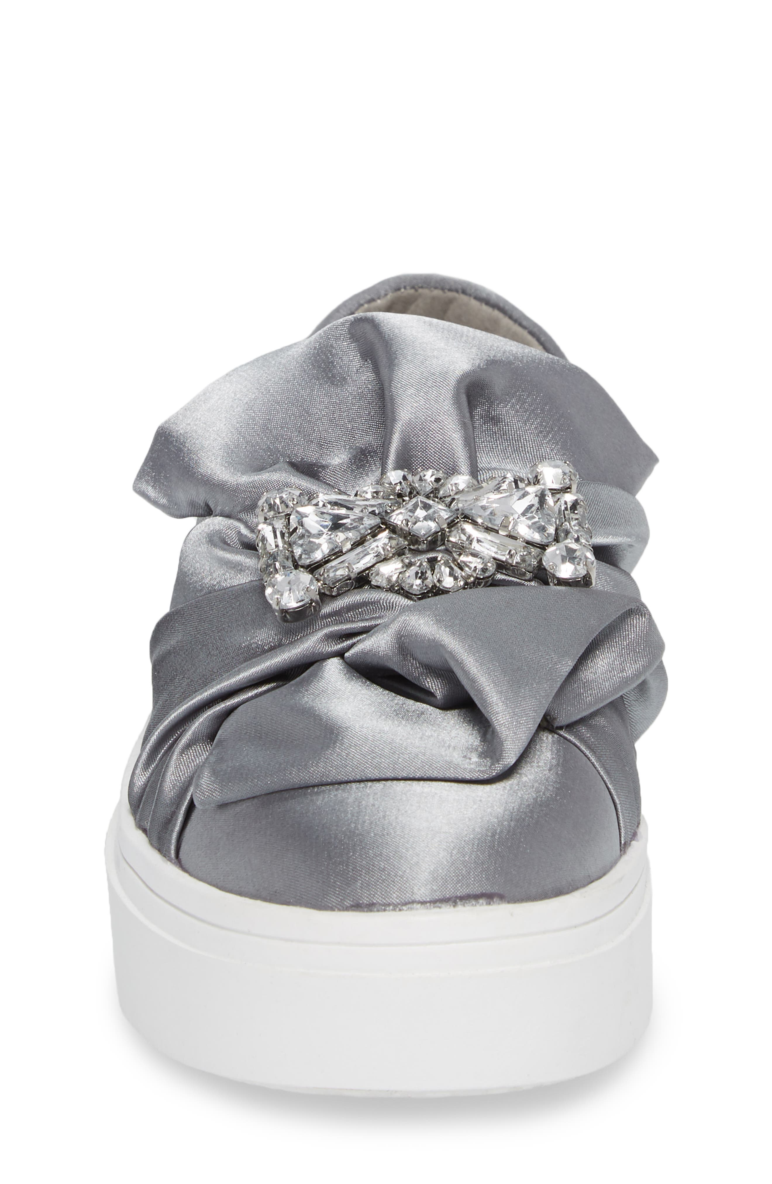 Shout Shine Embellished Sneaker,                             Alternate thumbnail 4, color,                             Gray