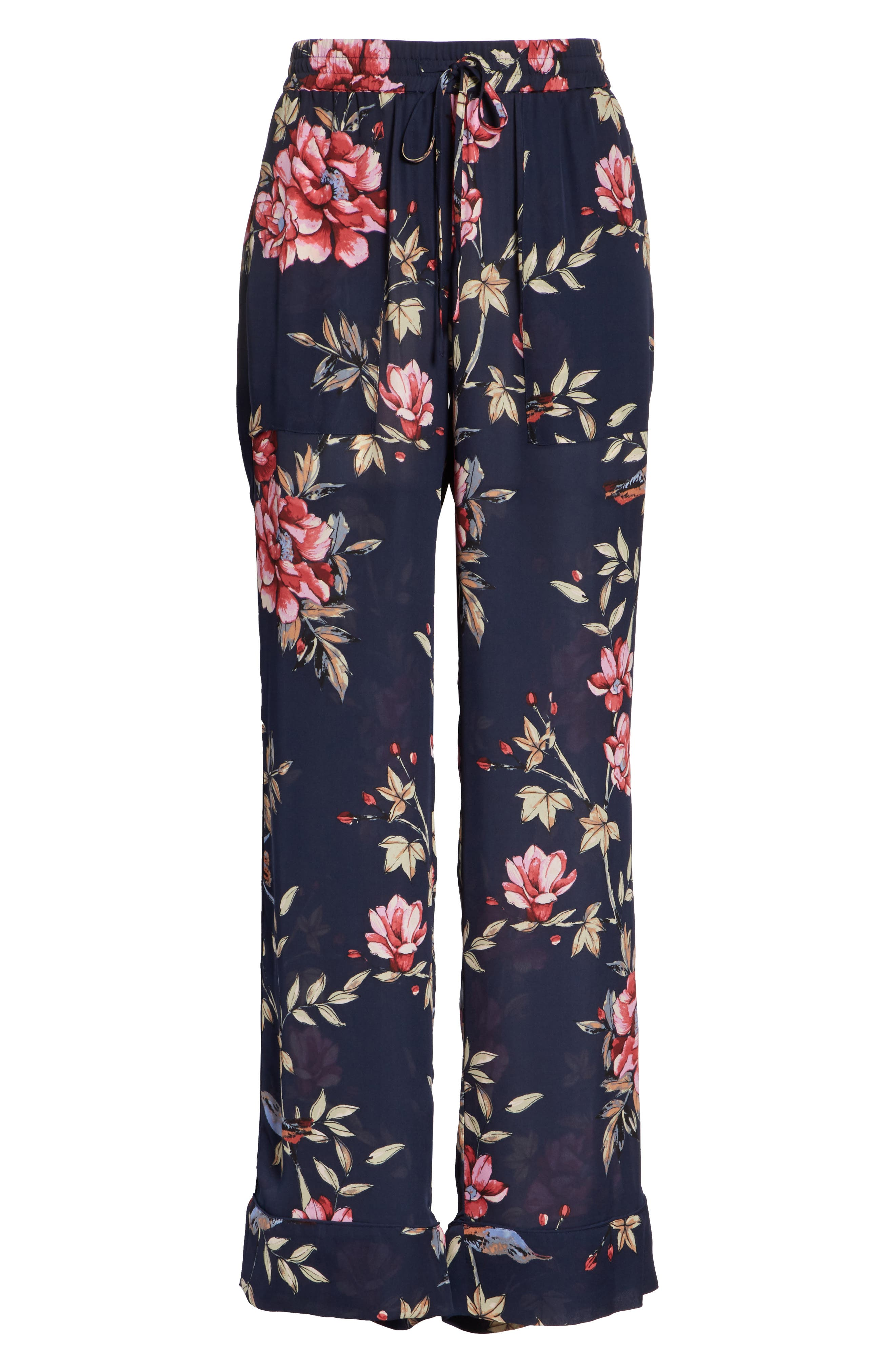 Daltona Floral Silk Pants,                             Alternate thumbnail 6, color,                             Dark Navy