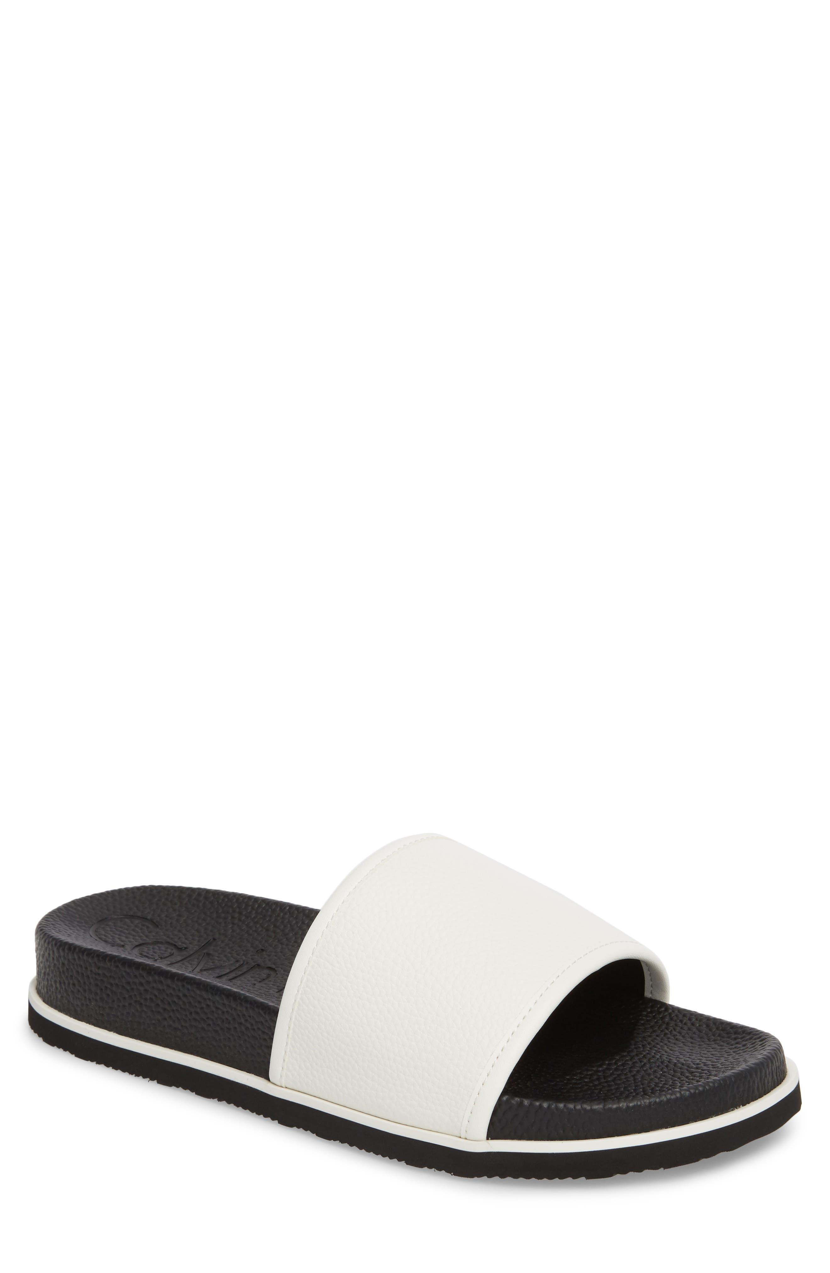 Mackee Sport Slide,                         Main,                         color, White Leather