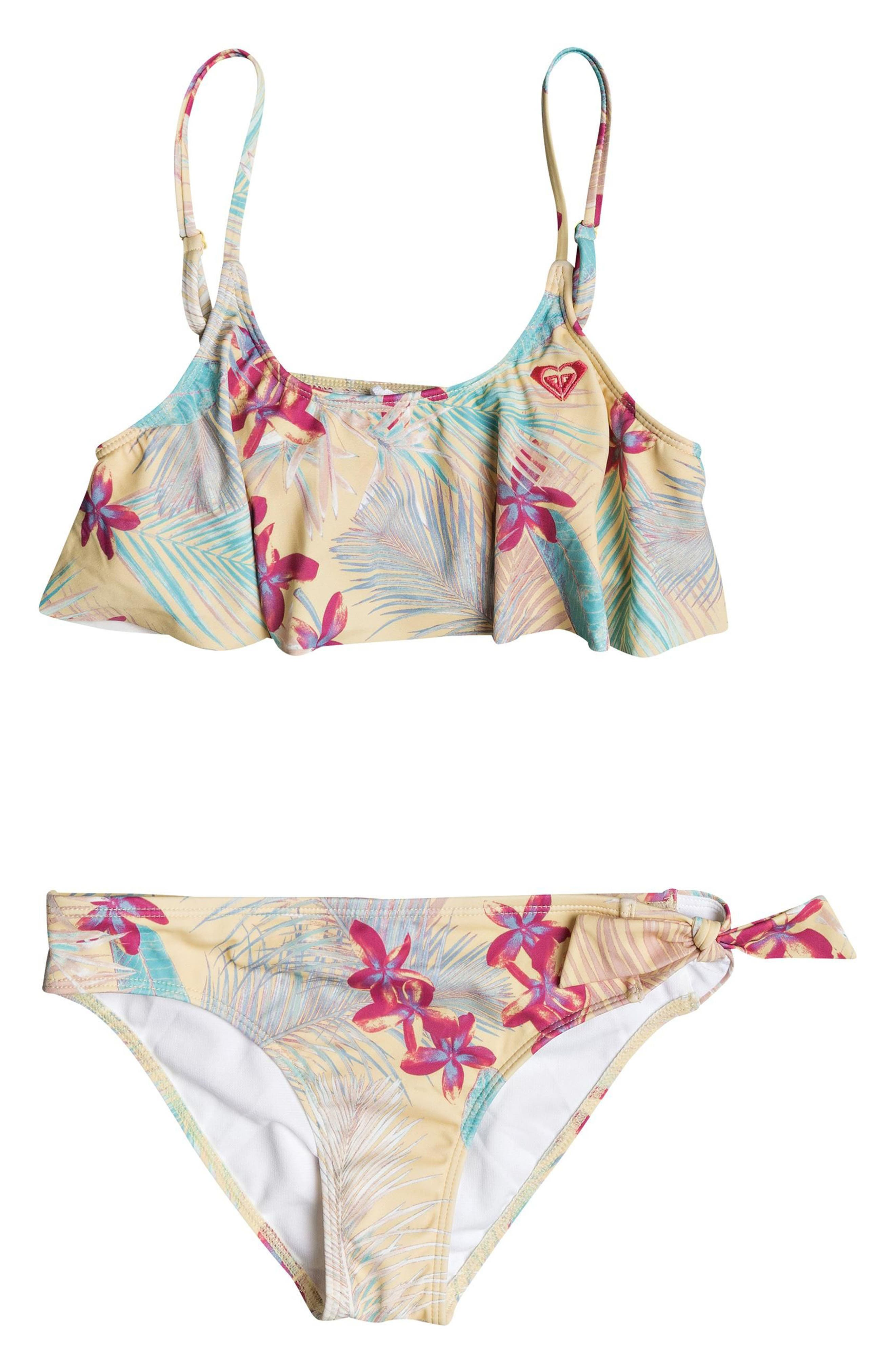 Salt Memory Flutter Two-Piece Swimsuit,                         Main,                         color, Sunshine Tiare Flower
