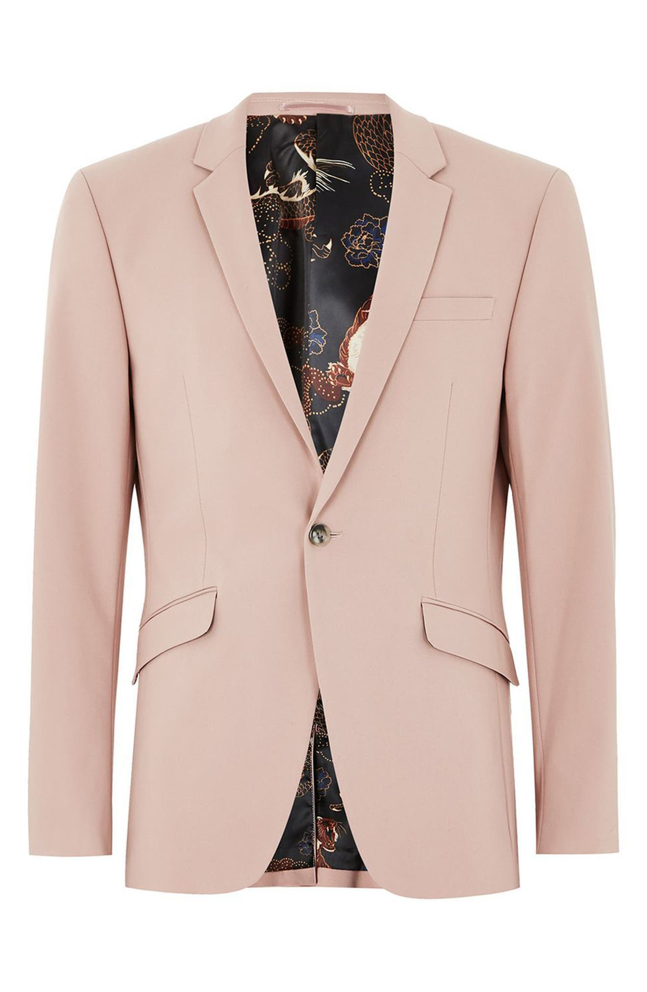 Skinny Fit Suit Jacket,                             Alternate thumbnail 4, color,                             Pink Multi