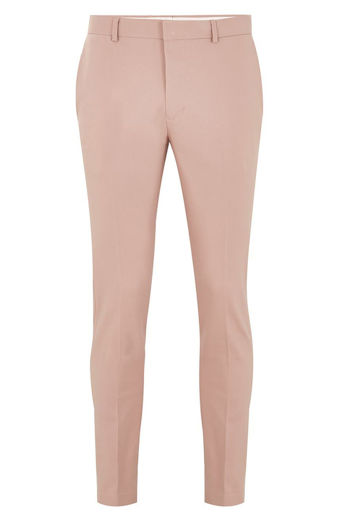 Skinny Fit Suit Trousers,                             Alternate thumbnail 4, color,                             Pink