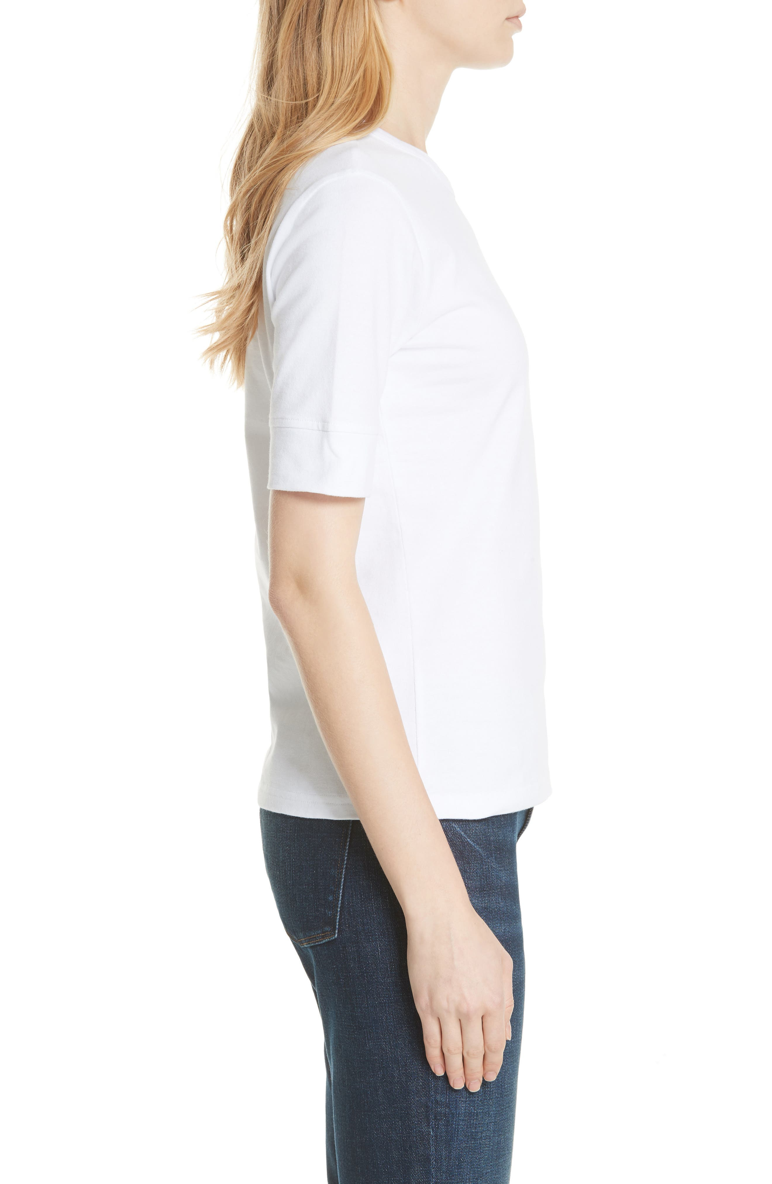 Los Angeles Embroidered True Crew Tee,                             Alternate thumbnail 5, color,                             Blanc