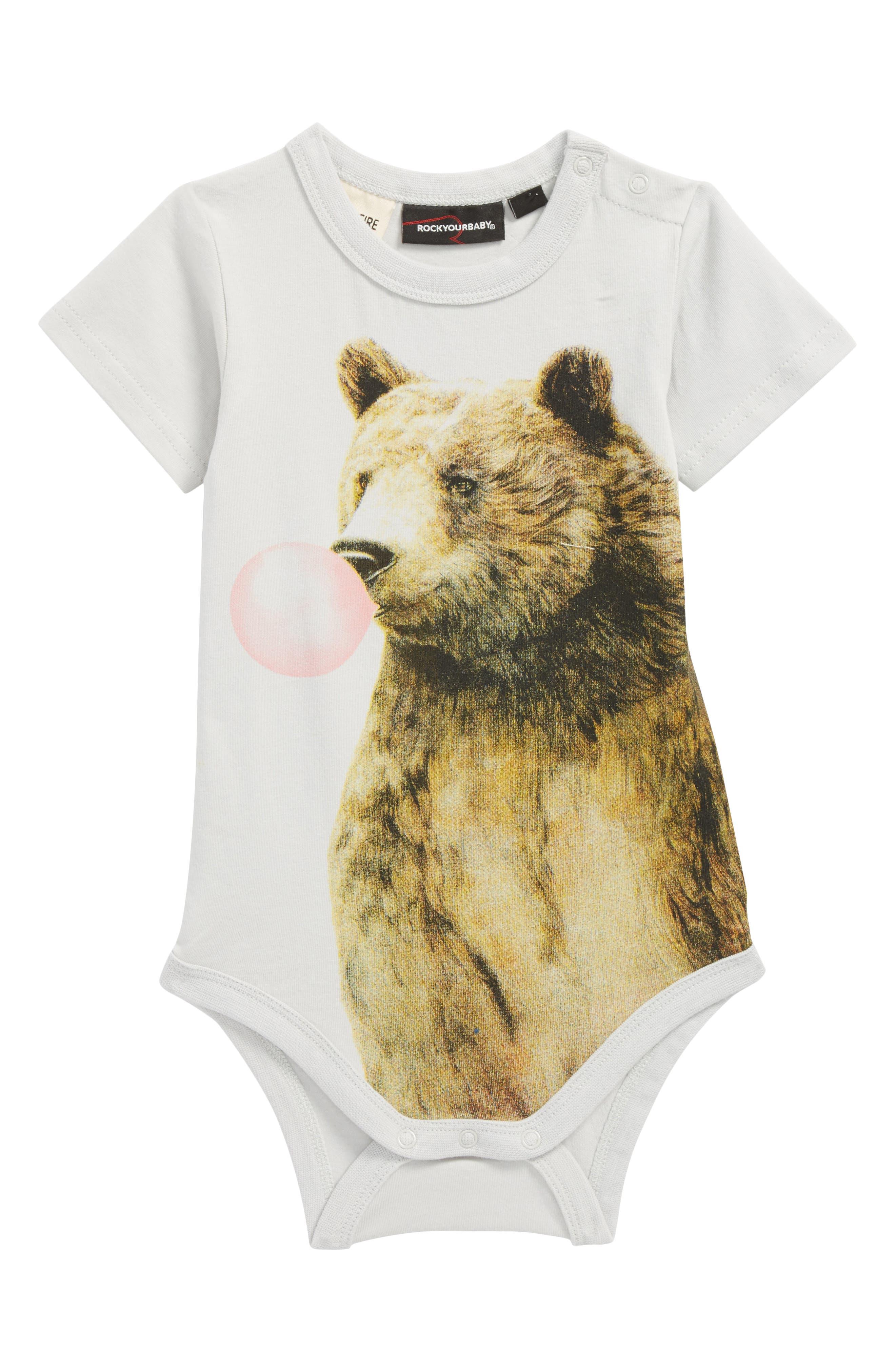 Alternate Image 1 Selected - Rock Your Baby Bubblegum Bear Bodysuit (Baby)