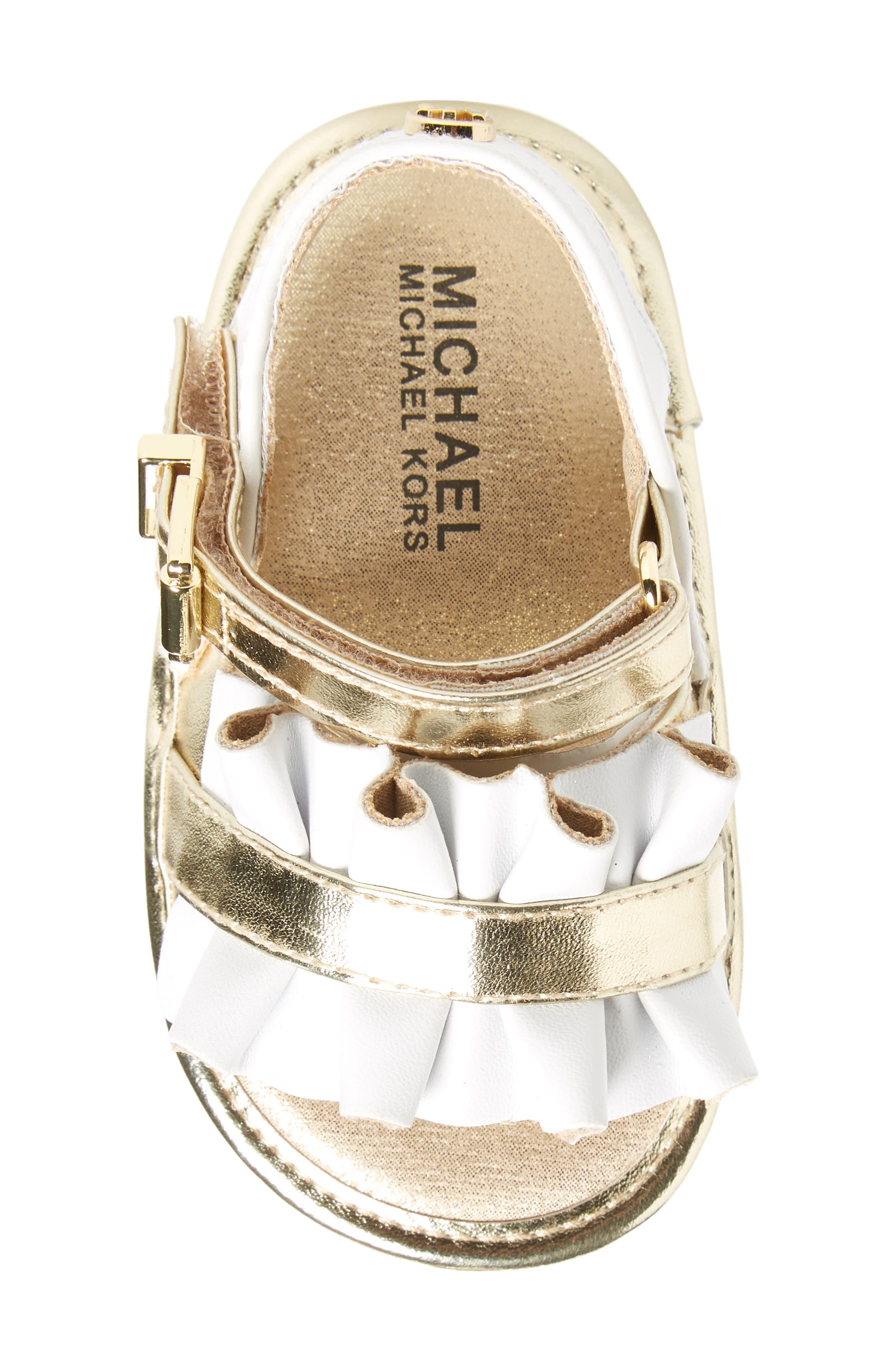 Baby Free Metallic Ruffled Sandal,                             Alternate thumbnail 5, color,                             White Gold