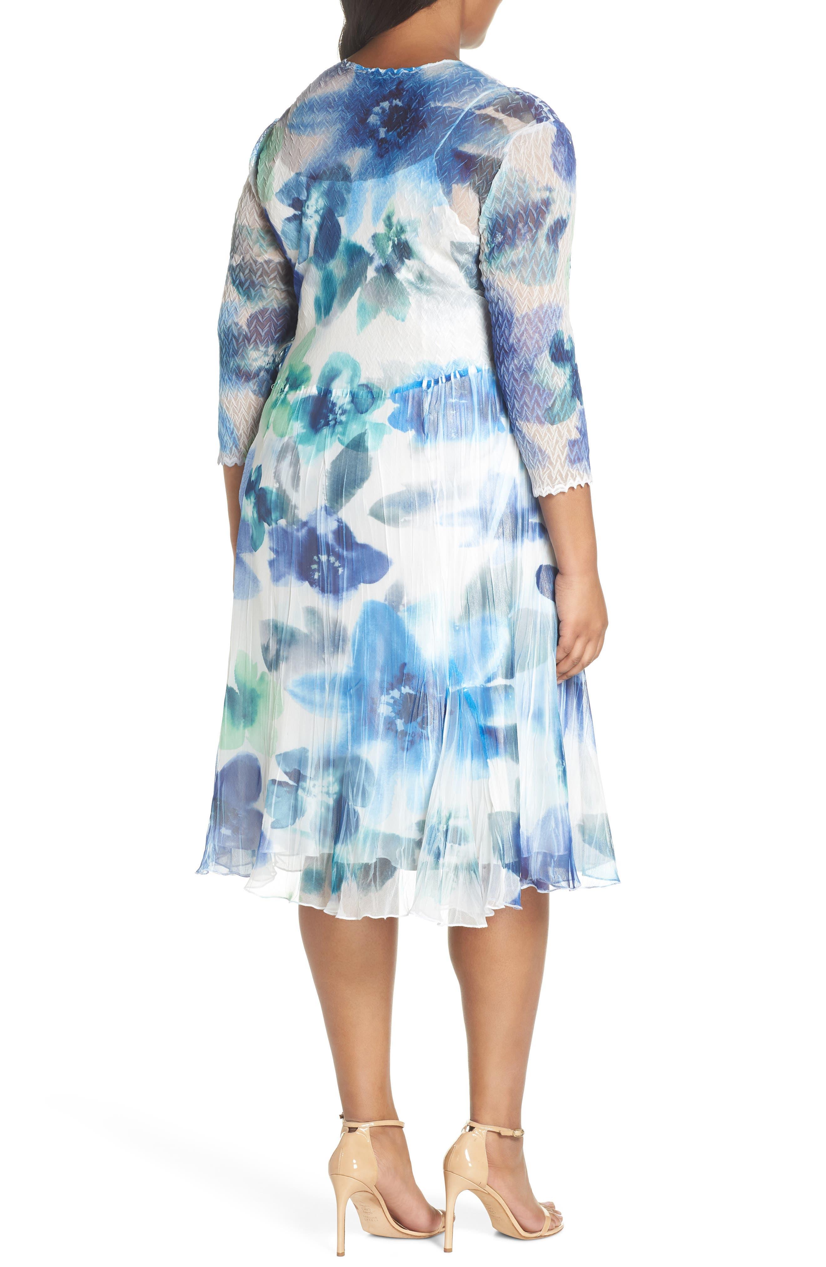 Floral Chiffon A-Line Dress,                             Alternate thumbnail 2, color,                             Azure Meadow