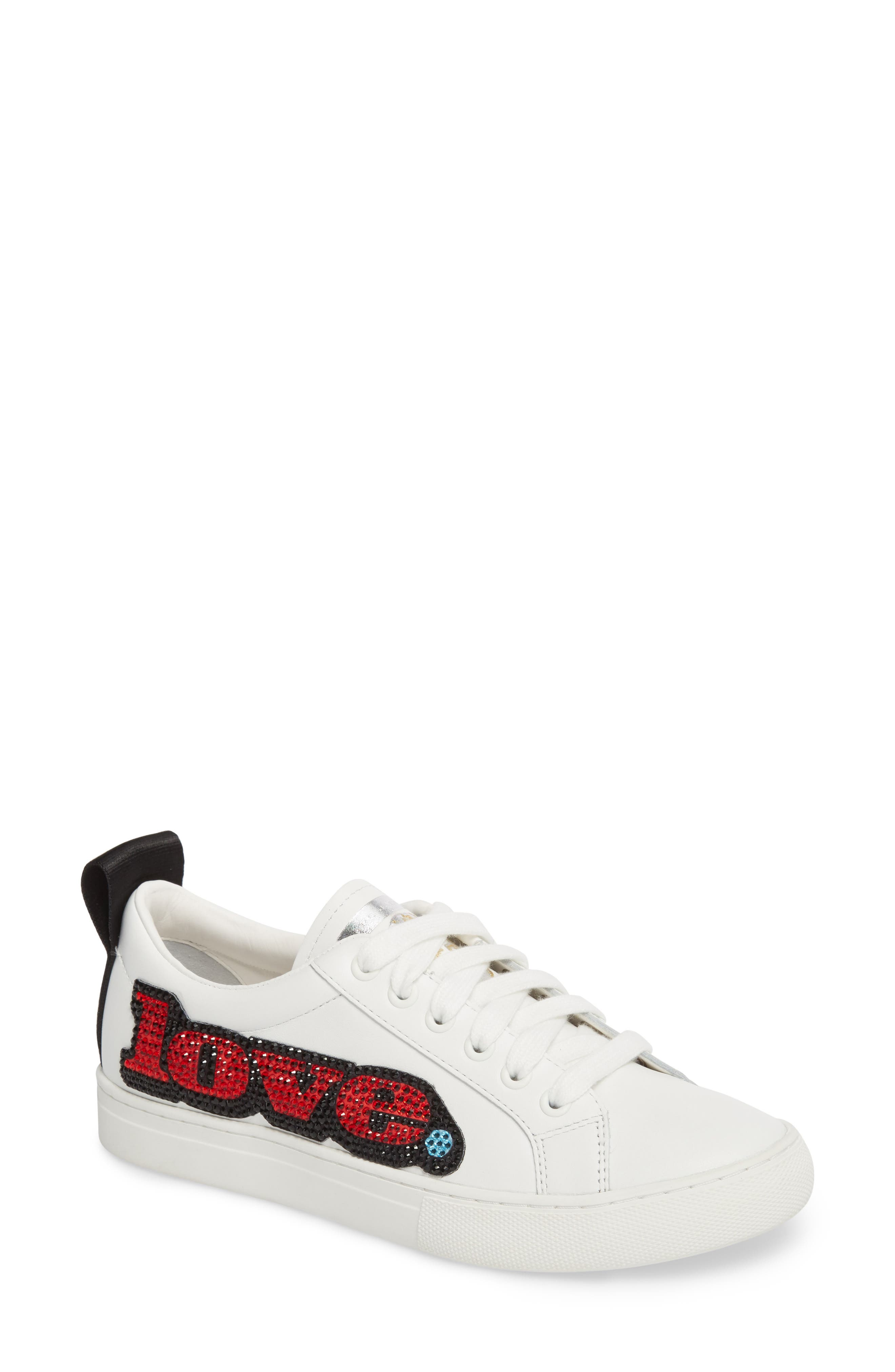 Empire Love Embellished Sneaker,                             Main thumbnail 1, color,                             White Multi