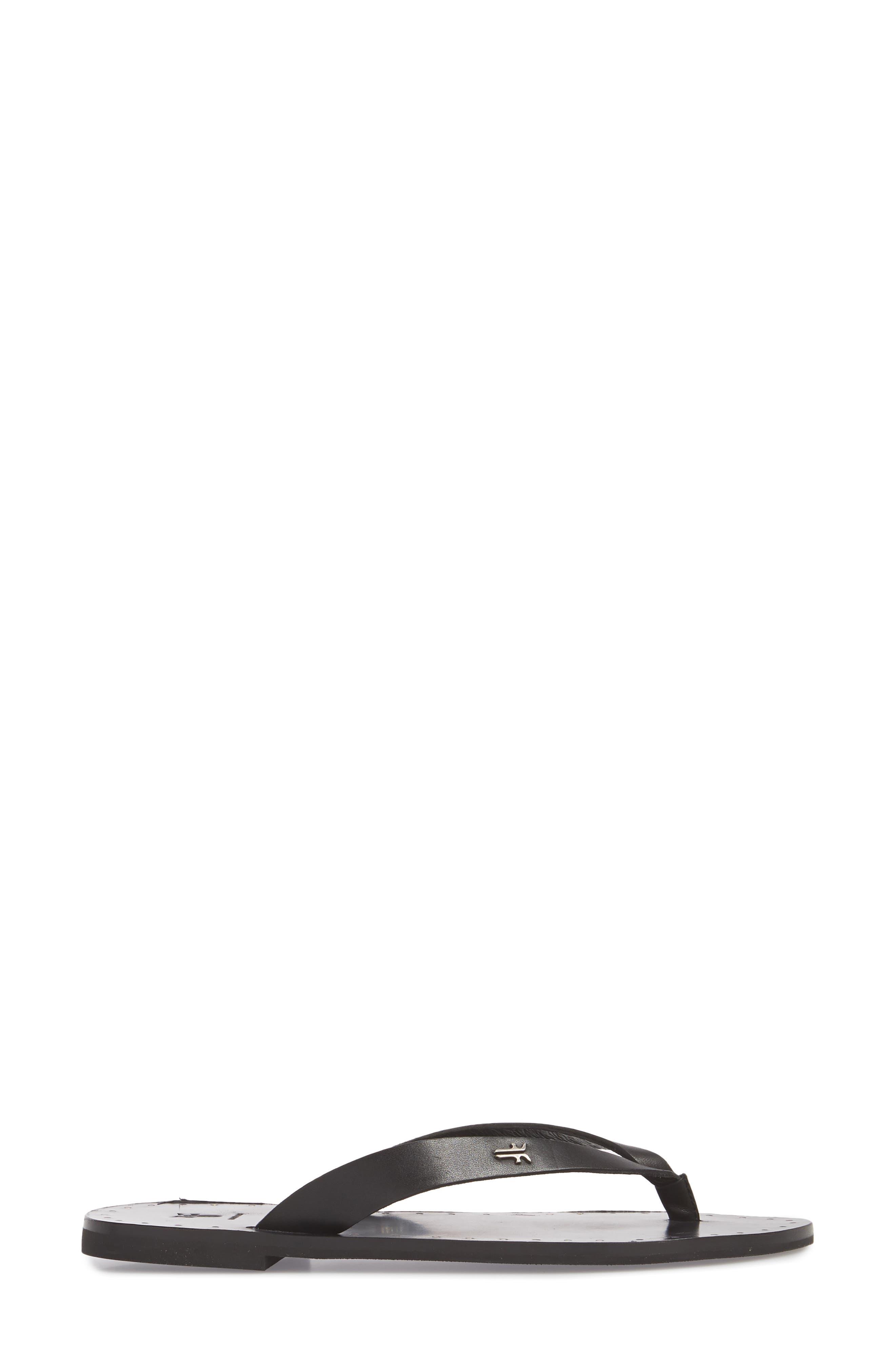 Ally Flip Flop,                             Alternate thumbnail 3, color,                             Black Leather