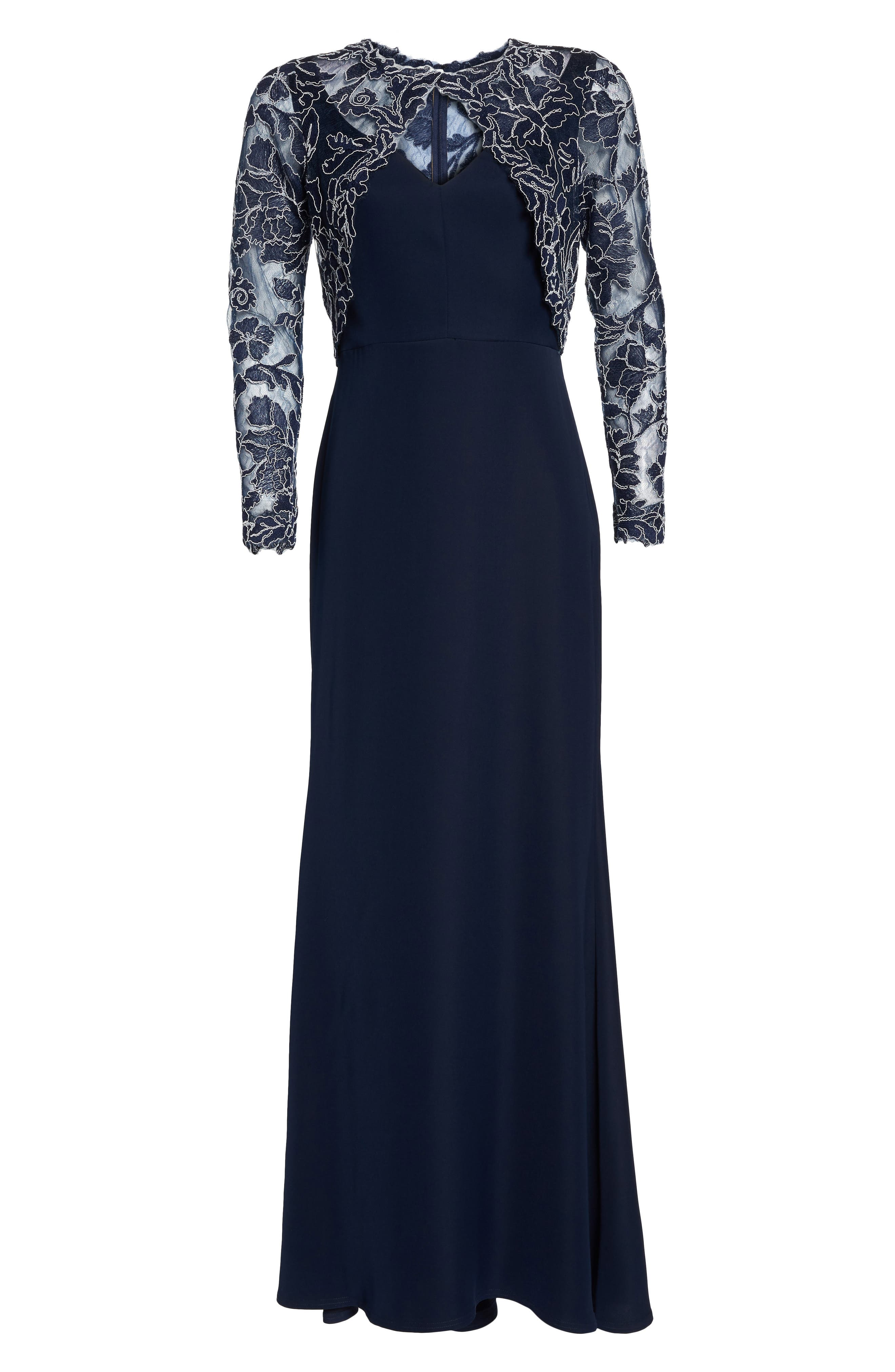 Crepe & Embroidered Lace Gown,                             Alternate thumbnail 6, color,                             Navy/ Ivory