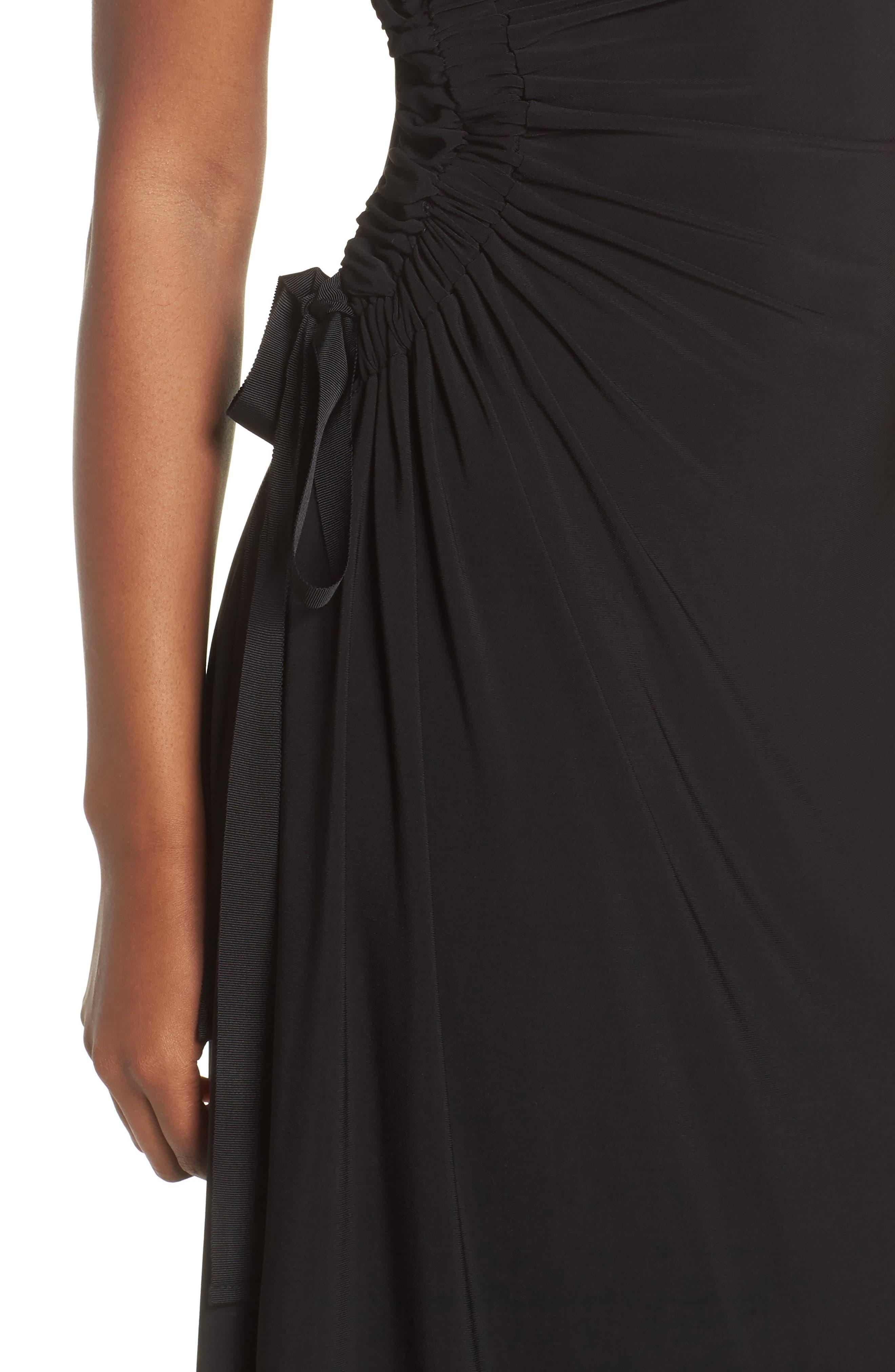 Ruched Side Tie Midi Dress,                             Alternate thumbnail 4, color,                             Black