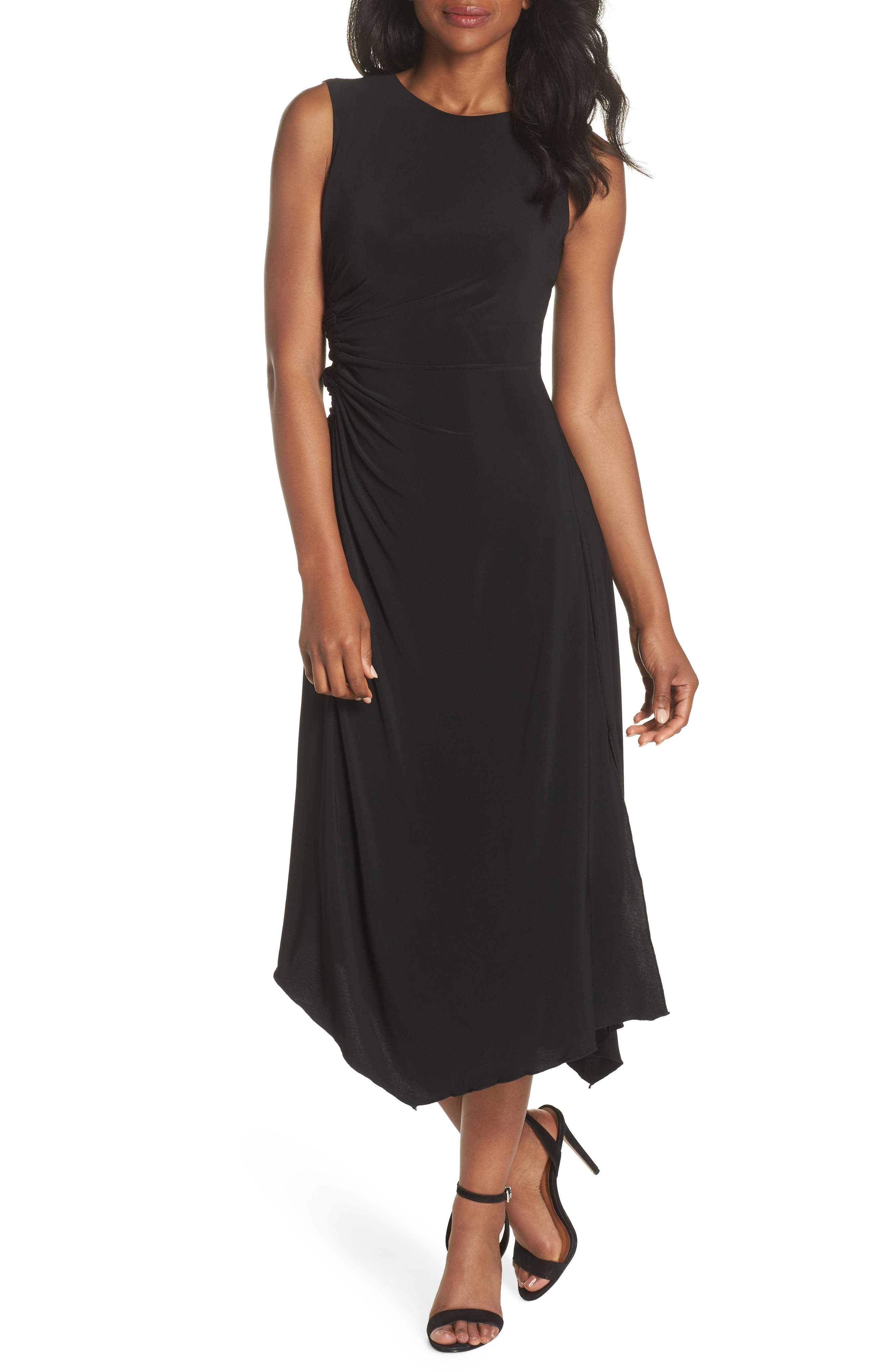 Ruched Side Tie Midi Dress,                             Main thumbnail 1, color,                             Black