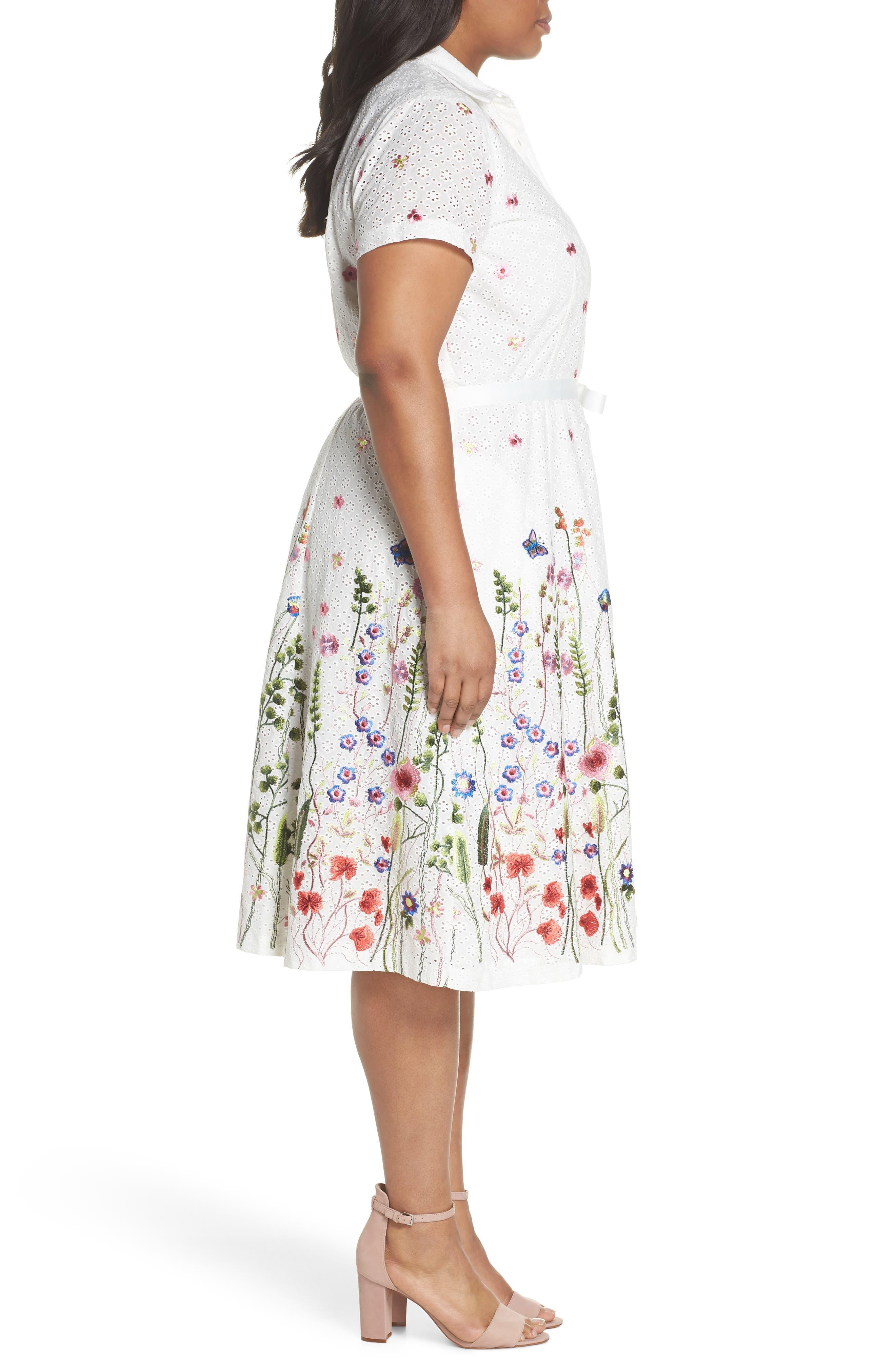 Floral Embroidered Eyelet Shirtdress,                             Alternate thumbnail 3, color,                             White/ Royal/ Green