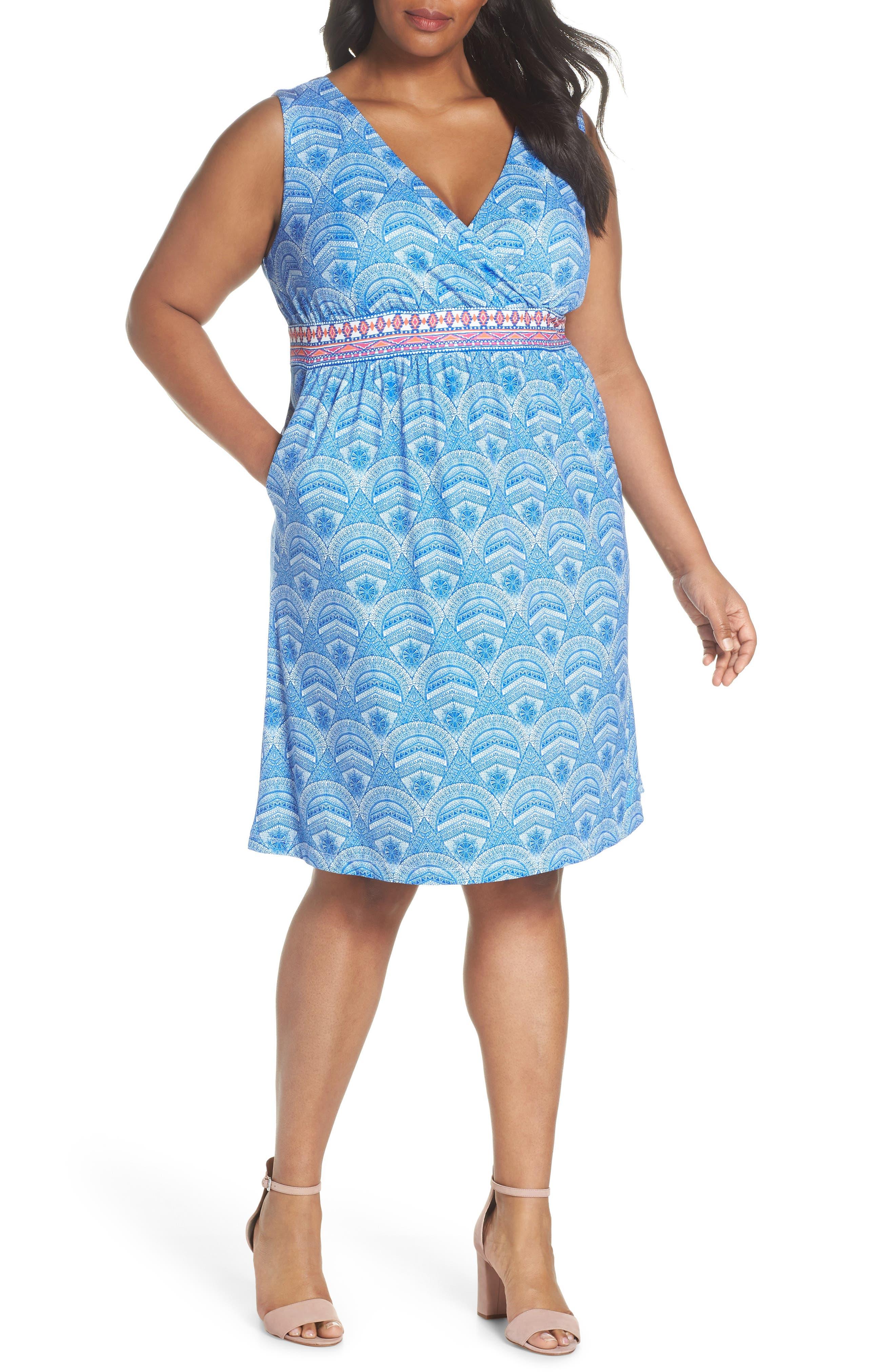 Rosine Print A-Line Dress,                             Main thumbnail 1, color,                             Lapis Blue