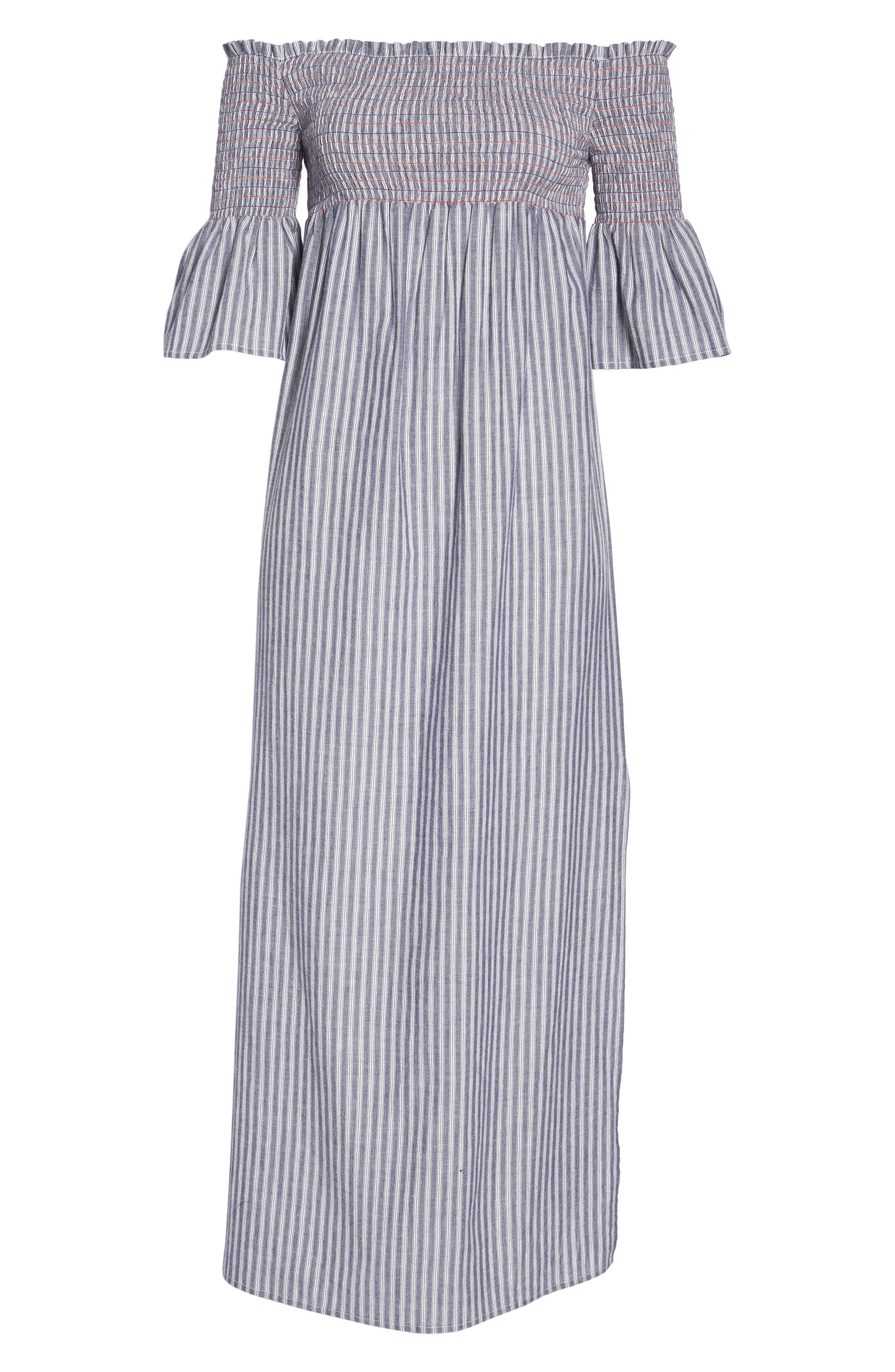 Carmel Smocked Off the Shoulder Maxi Dress,                             Alternate thumbnail 7, color,                             Chambray
