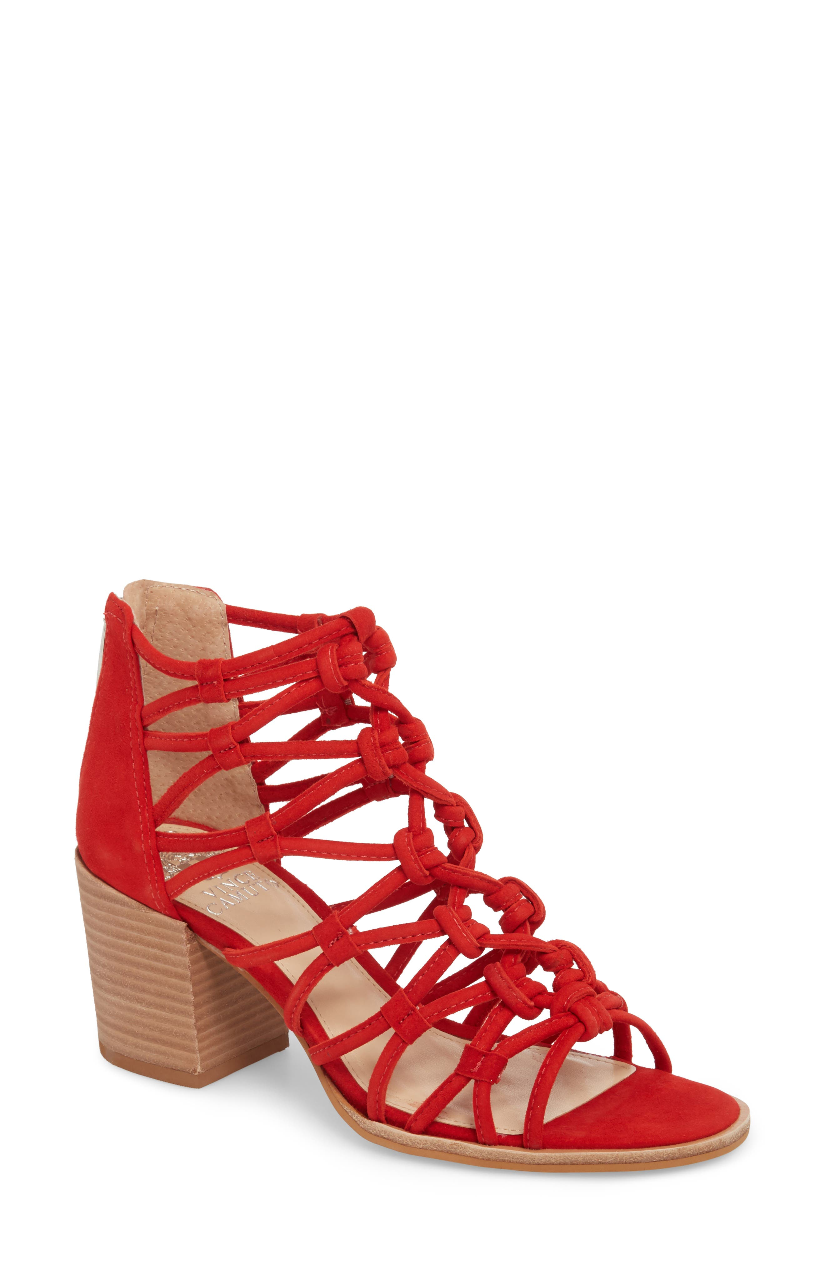 Karika Cage Sandal,                         Main,                         color, Red Hot Rio Suede