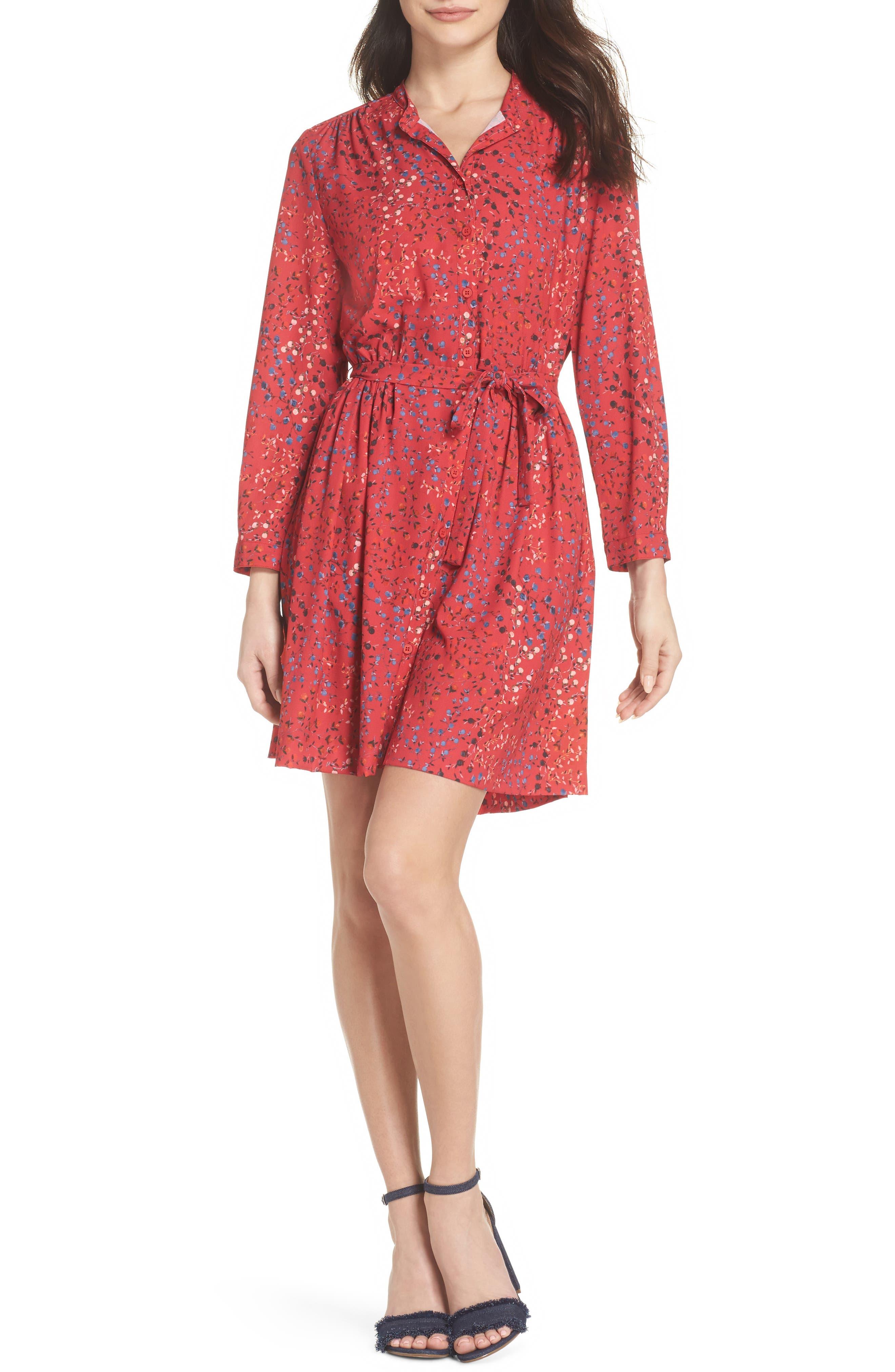 Frances Drape Shirtdress,                         Main,                         color, Watermelon