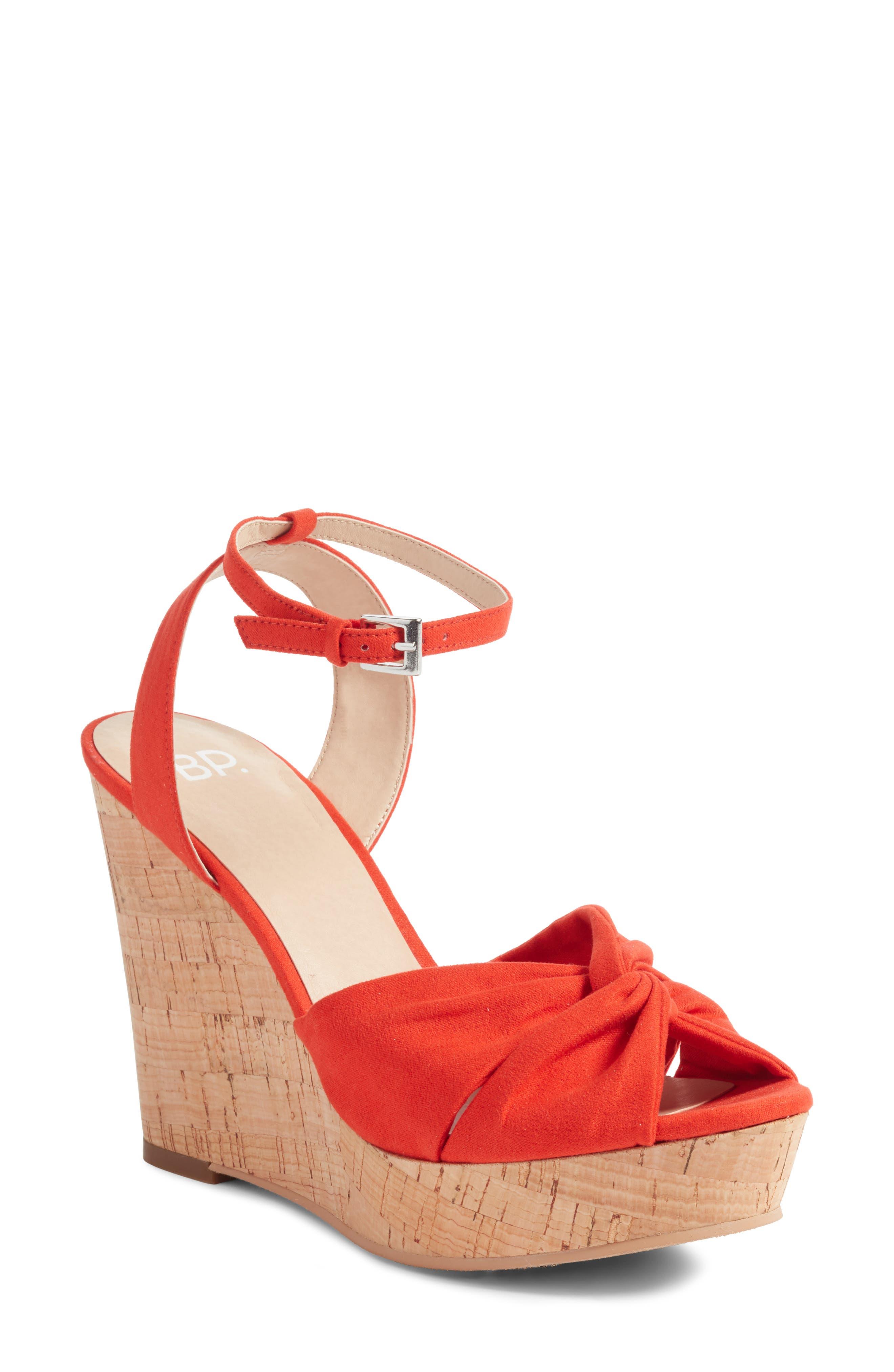 Arya Platform Wedge Sandal,                         Main,                         color, Poppy Faux Suede