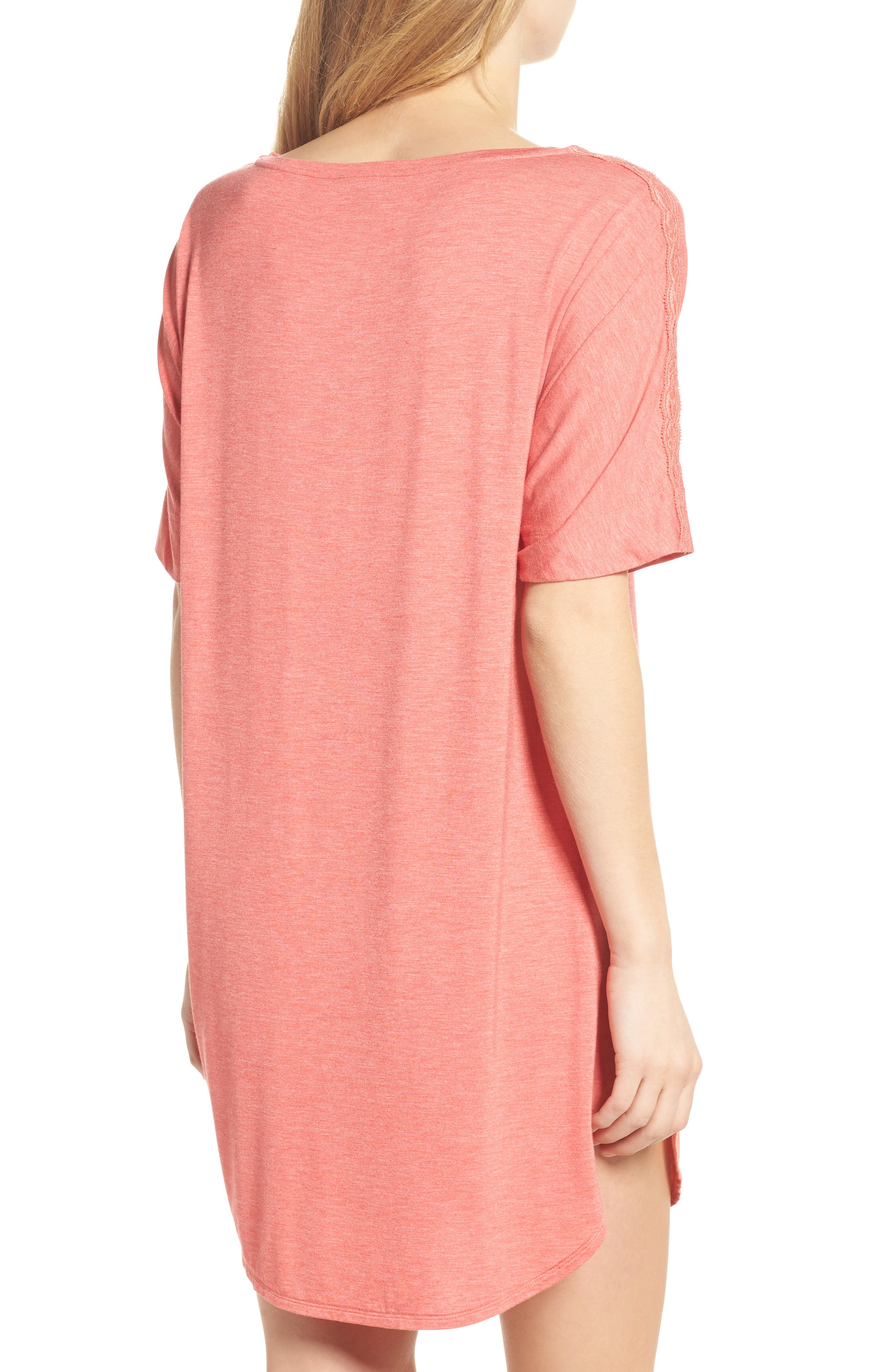 Feathers Essential Sleep Shirt,                             Alternate thumbnail 2, color,                             Coral