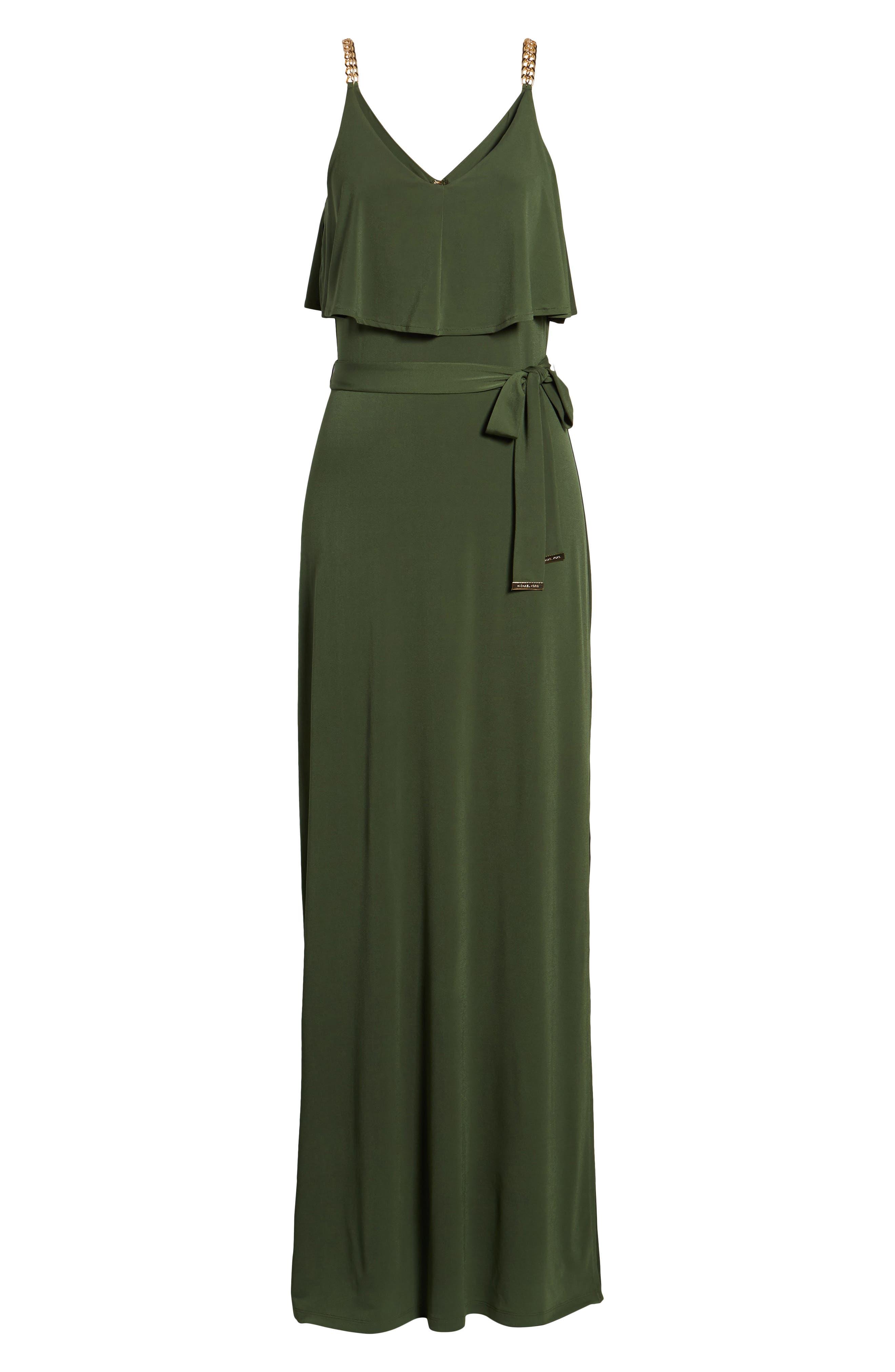 Chain Strap Popover Maxi Dress,                             Alternate thumbnail 7, color,                             Jade