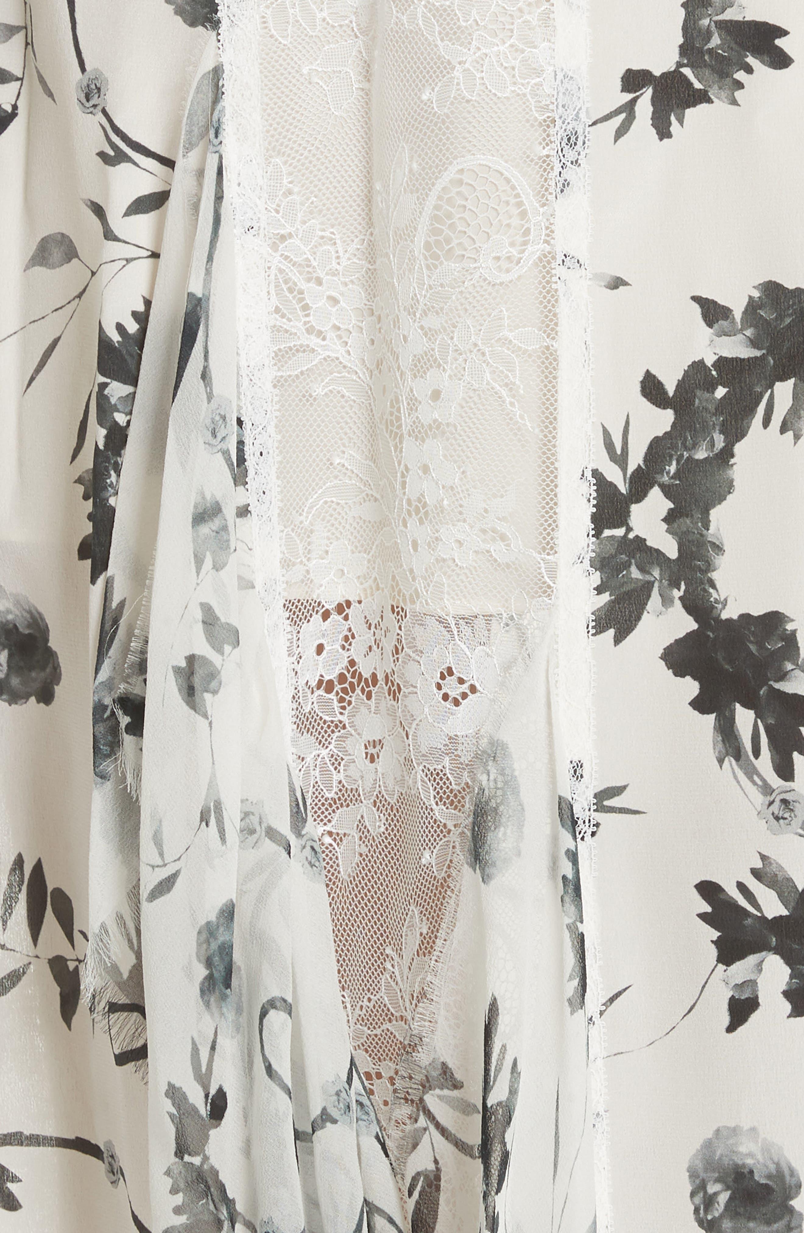 Jayda Godet Lace Inset Silk Maxi Dress,                             Alternate thumbnail 5, color,                             Floral Crown