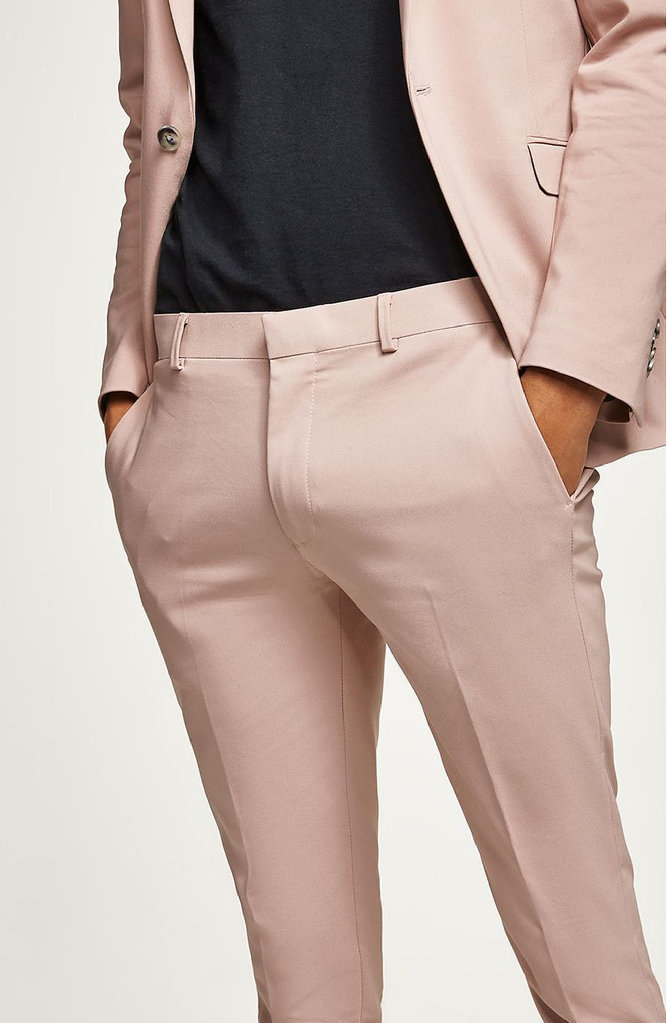 Skinny Fit Suit Trousers,                             Alternate thumbnail 2, color,                             Pink