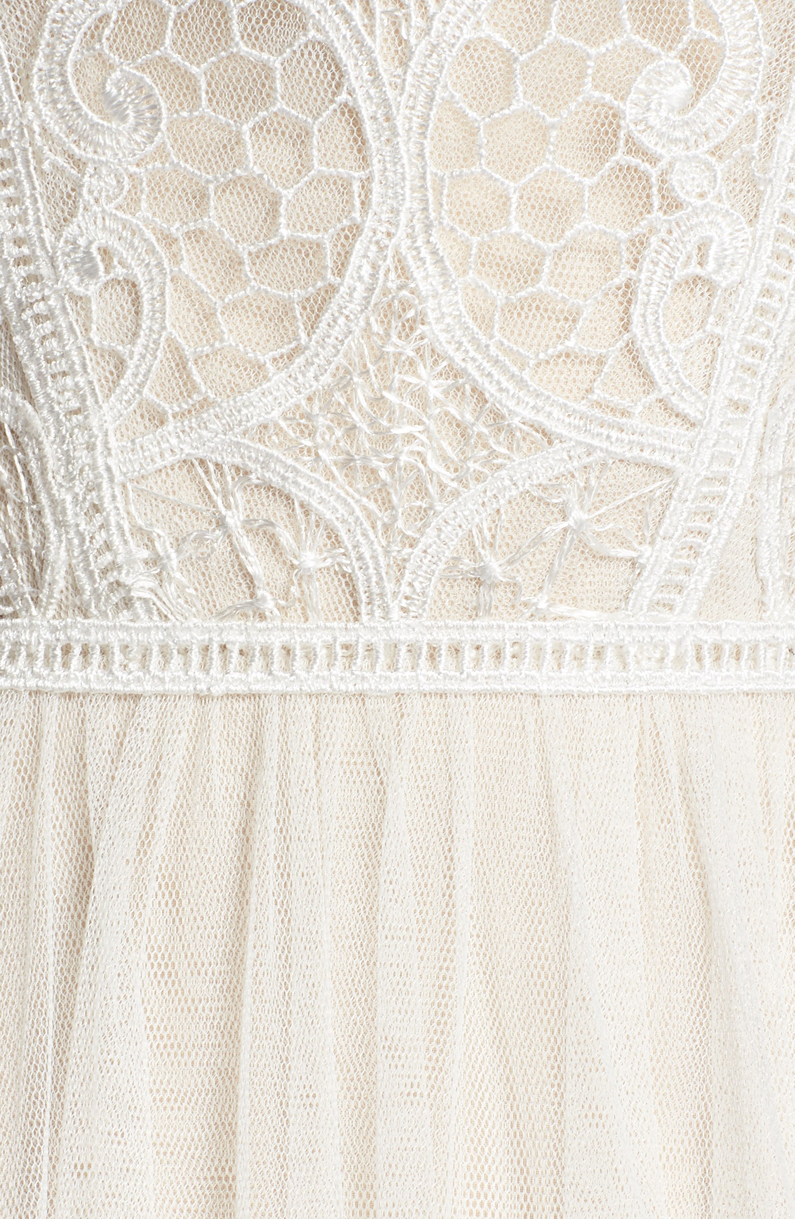 Lace & Tulle A-Line Gown,                             Alternate thumbnail 5, color,                             Ivory/Cashmere