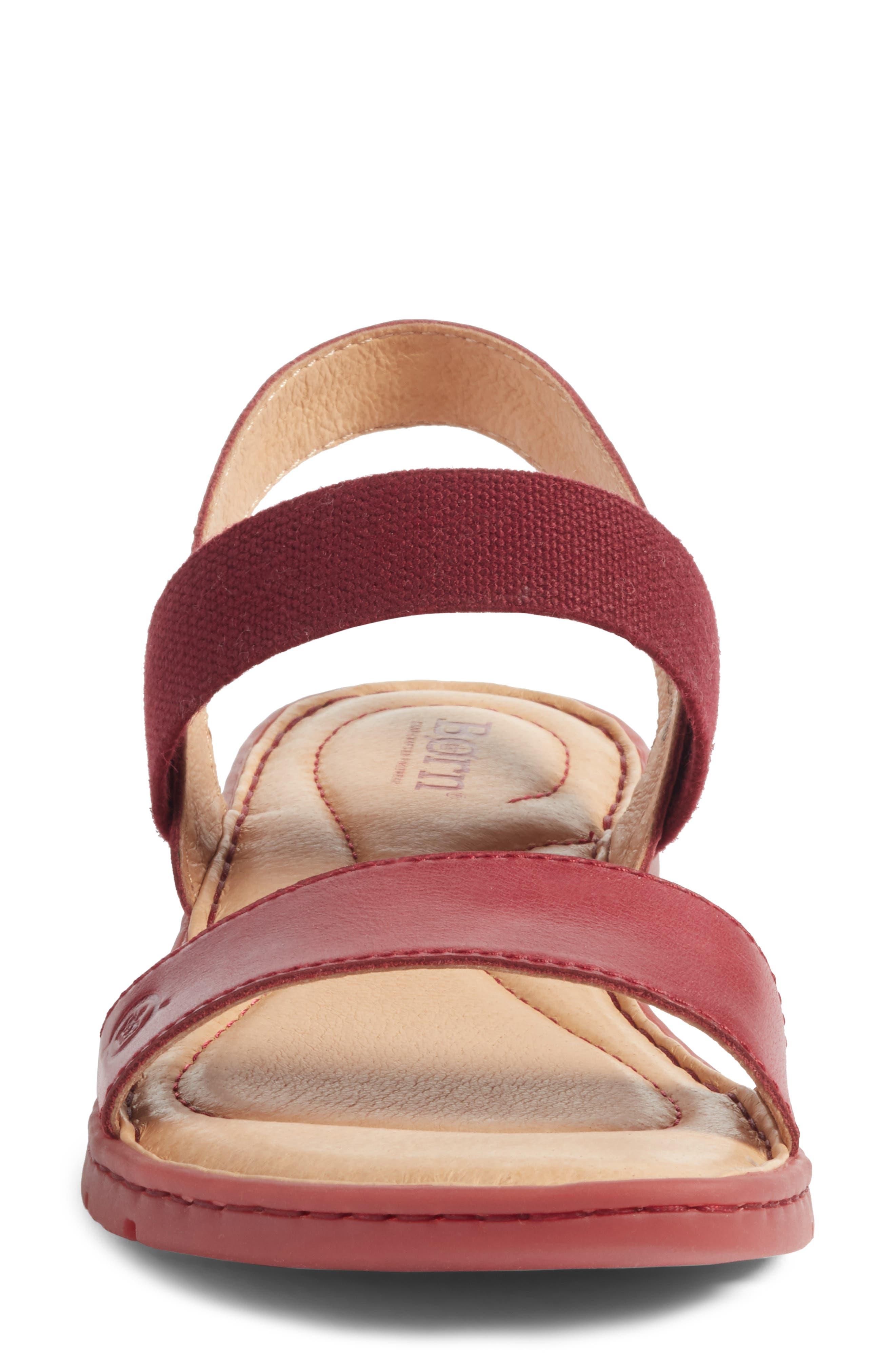 Börn Elstar Sandal,                             Alternate thumbnail 4, color,                             Red Leather