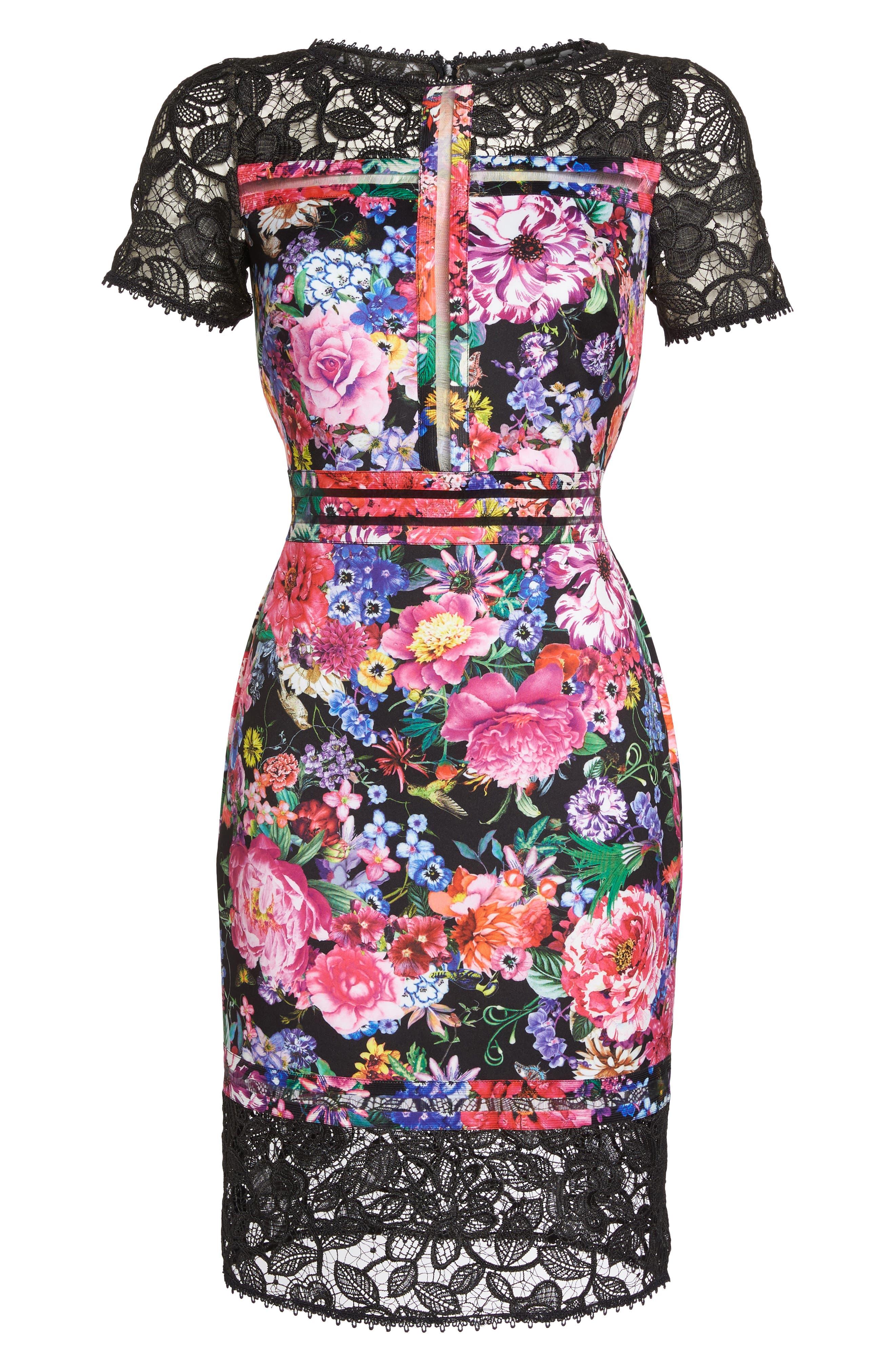 Floral & Lace Sheath Dress,                             Alternate thumbnail 6, color,                             Black/ Floral