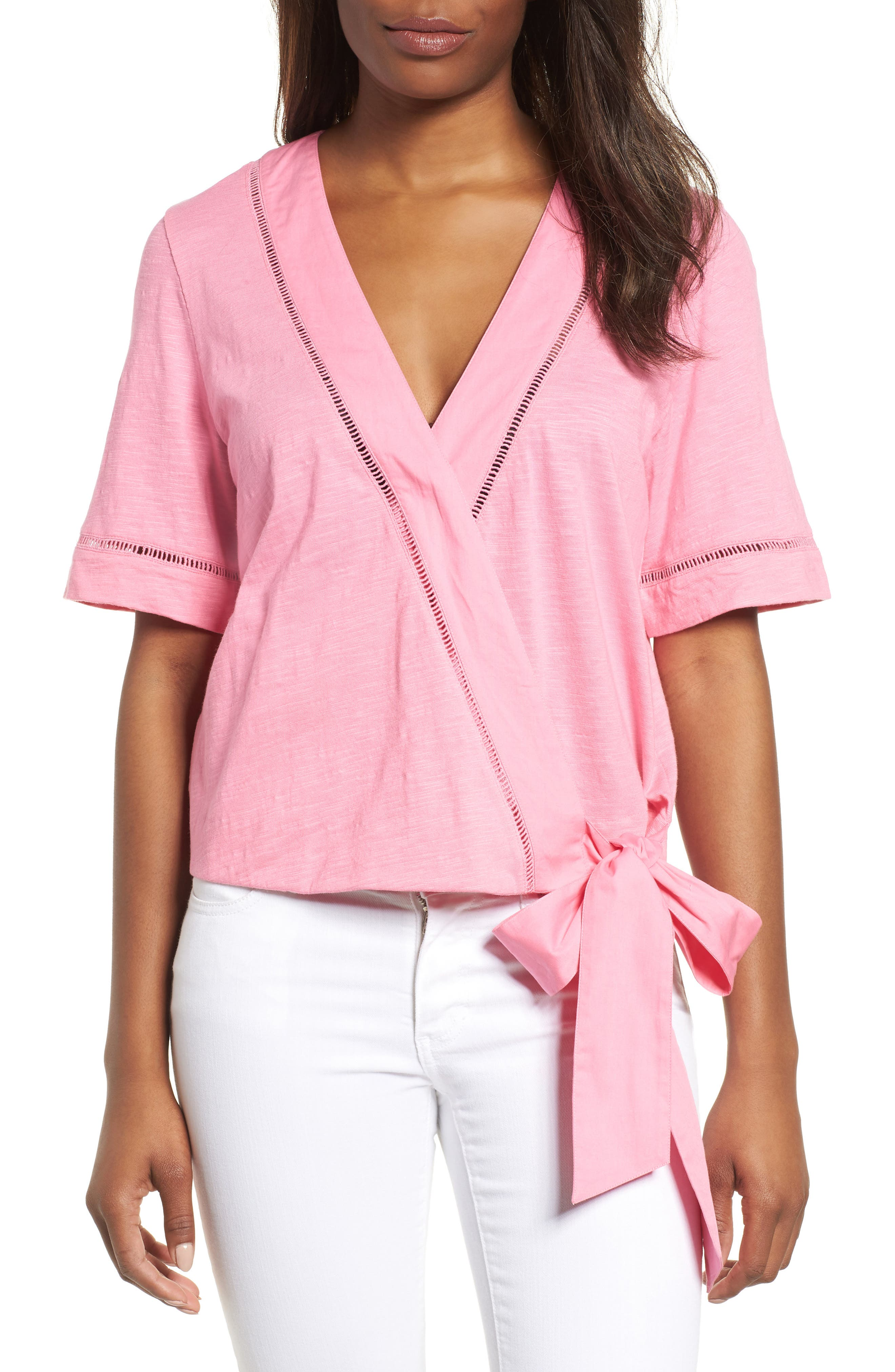 Tie Front Wrap Top,                         Main,                         color, Pink Aurora