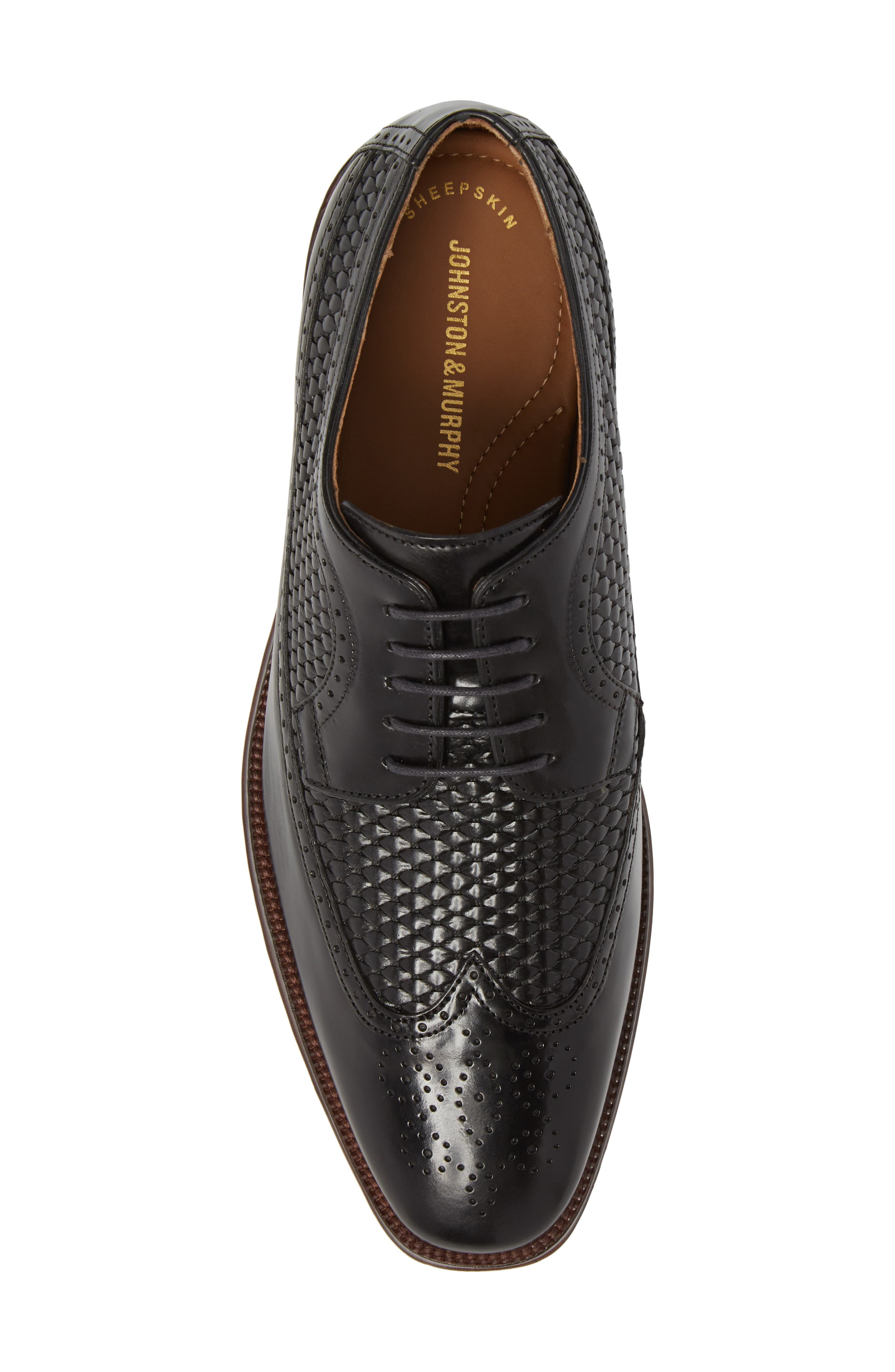 Boydstun Woven Wingtip Derby,                             Alternate thumbnail 5, color,                             Black Leather